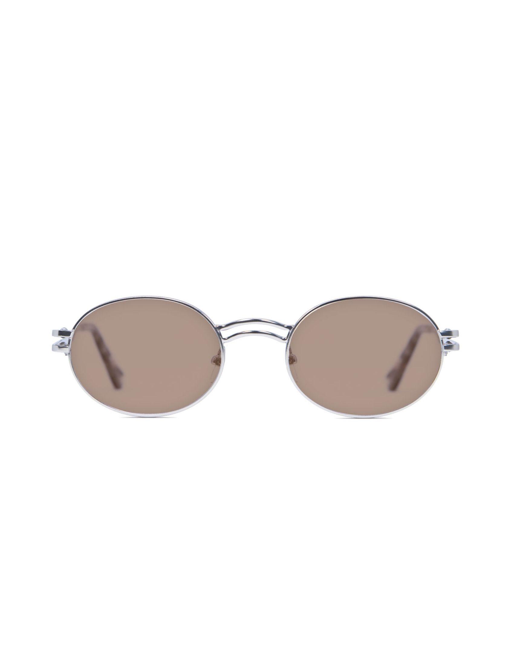 gafa de sol unisex kamy con montura plata y lente marrón