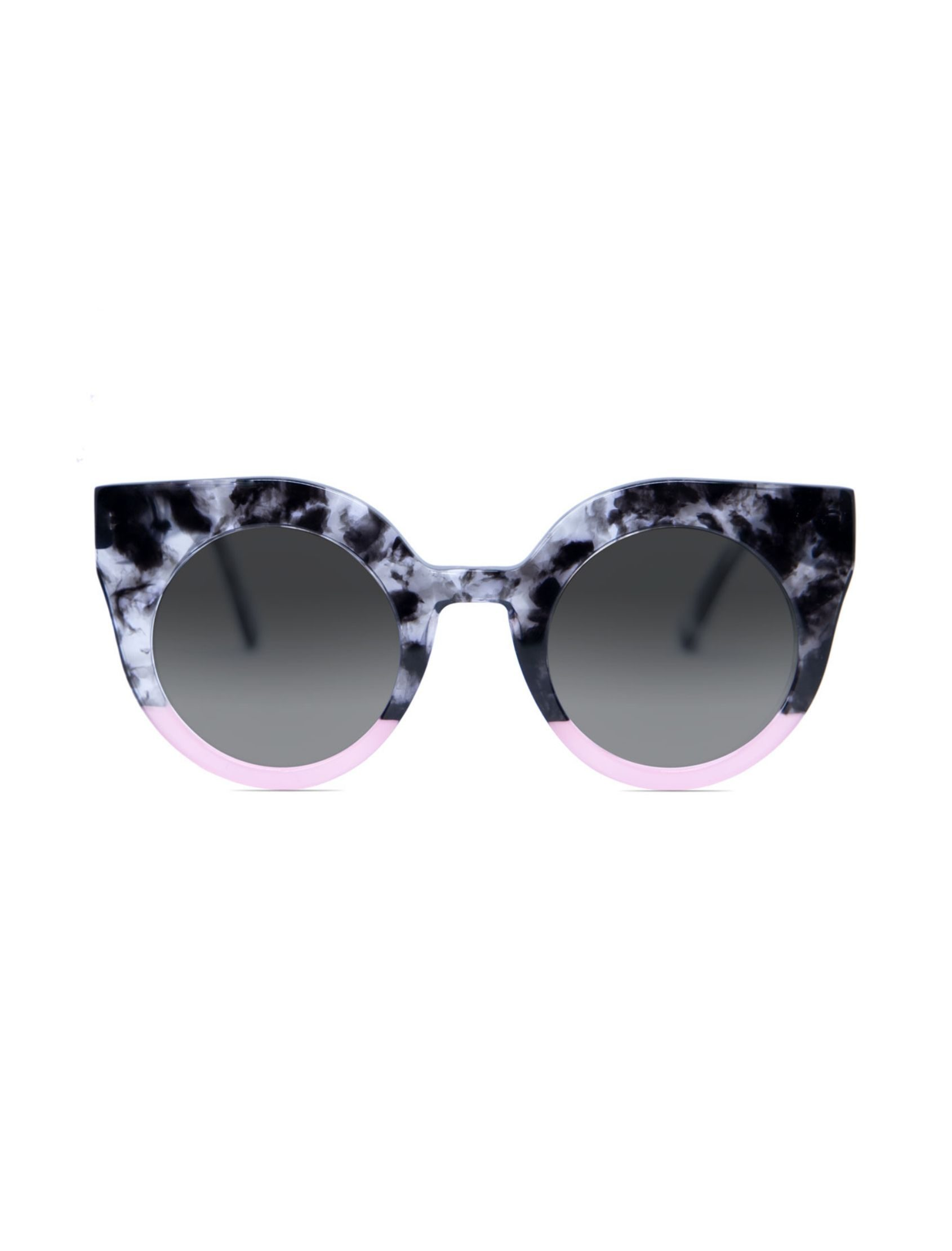gafa de sol para mujer con efecto mármol combinado con rosa y lentes polarizadas
