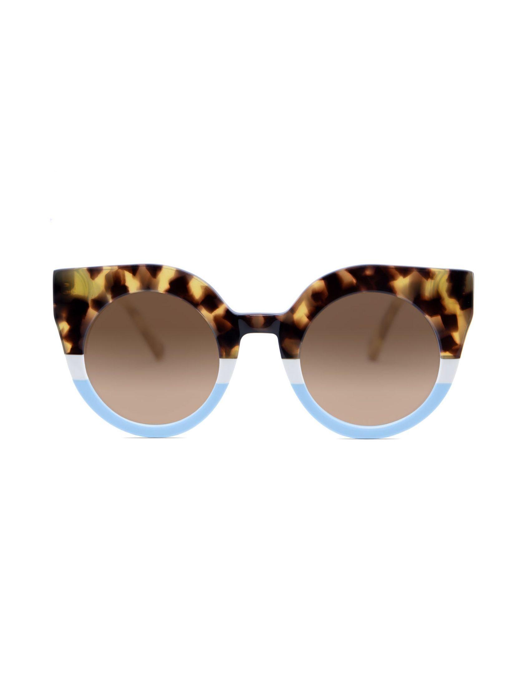 gafas de sol nina sweet sabana con forma redondeada y ojo de gato. estampado animal print y azul.
