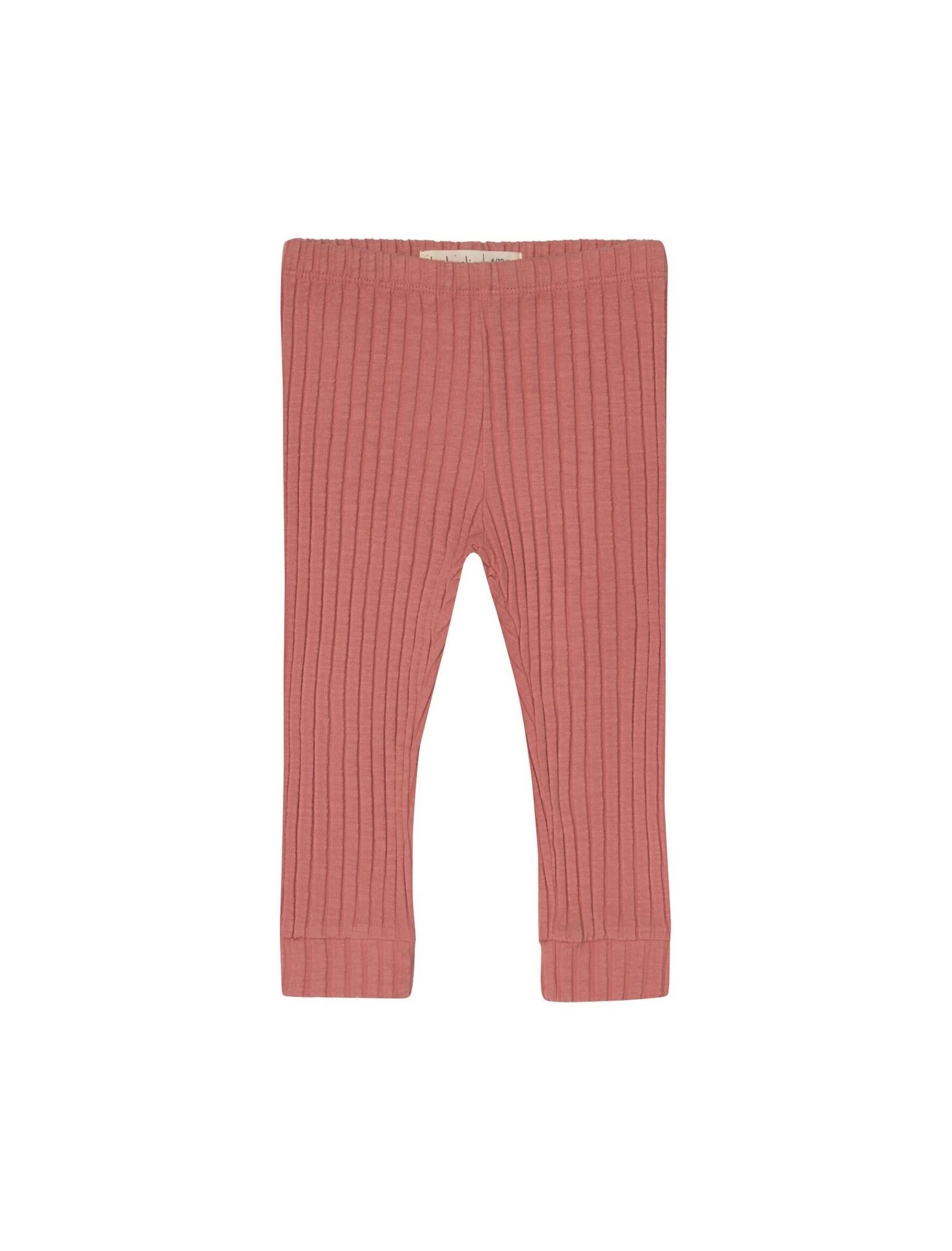 Legging unisex Rib en tono coral con goma en la cintura y punto canale