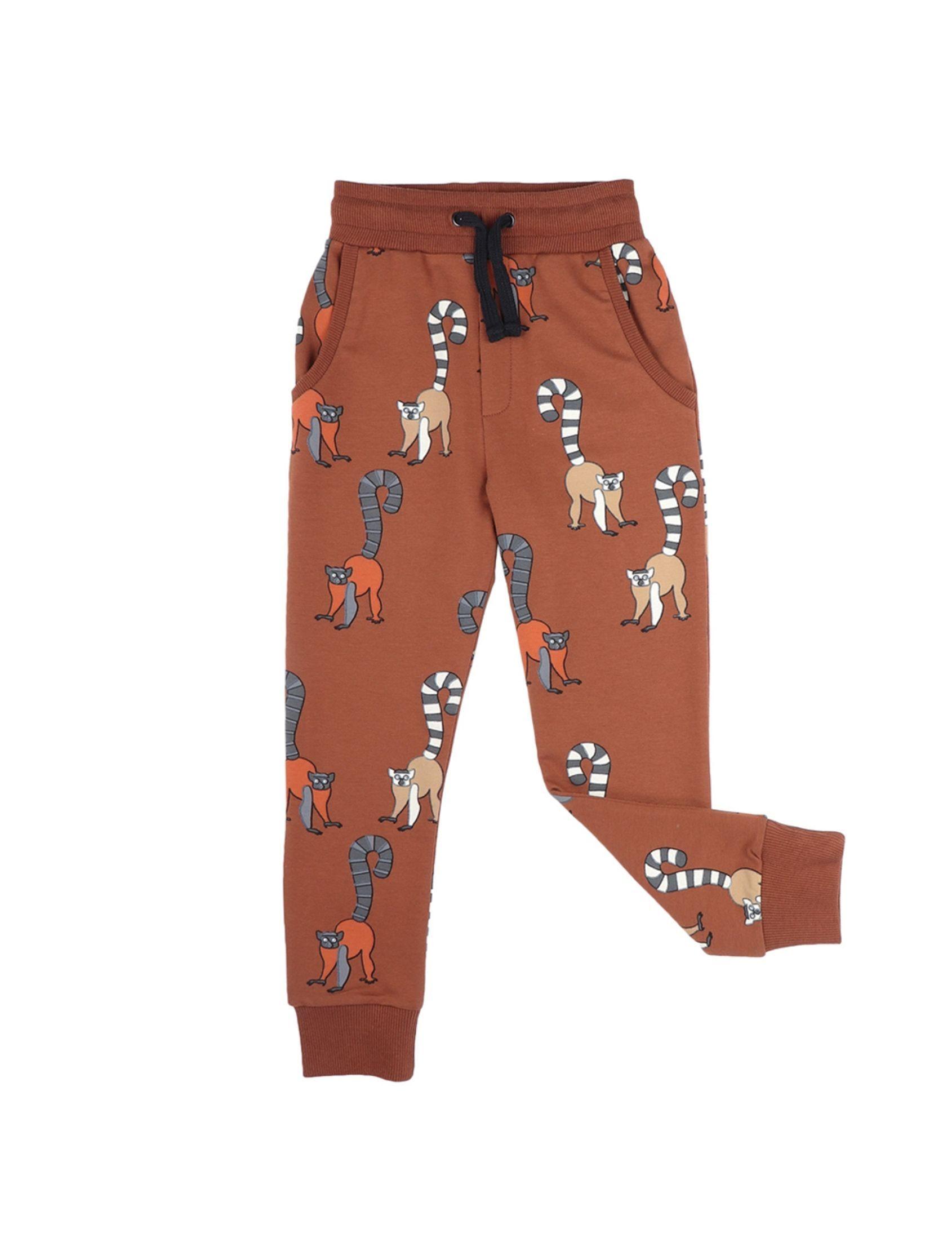 pantalón de chandal unisex en tono marron con estampado de animales de carlijnq
