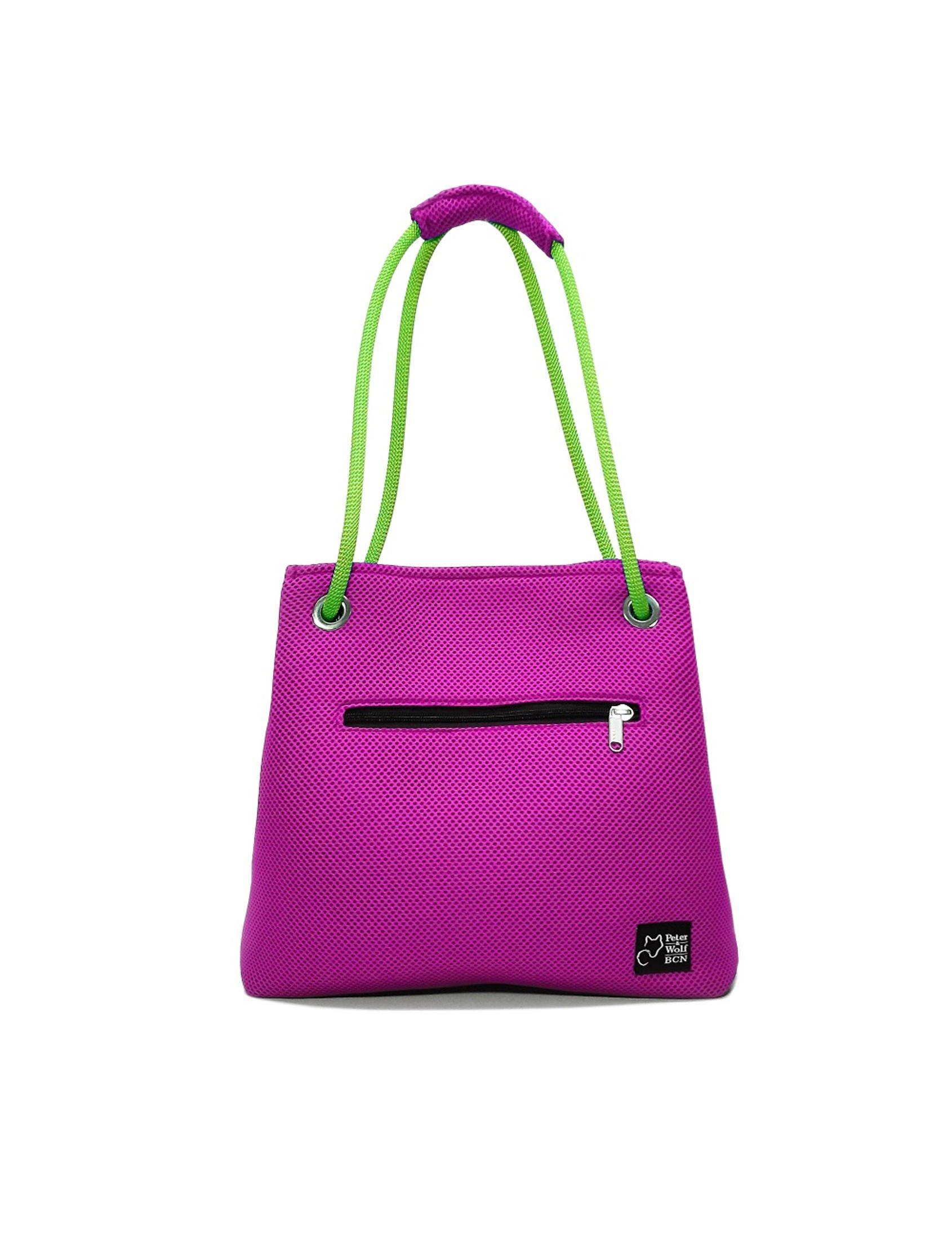 Bolso Kraft Sport Pink confeccionado artesanalmente en tejido técnico 3D, con asa en cuerda de escalada corredera para poder llevar el bolso de la mano, del hombro o en bandolera.