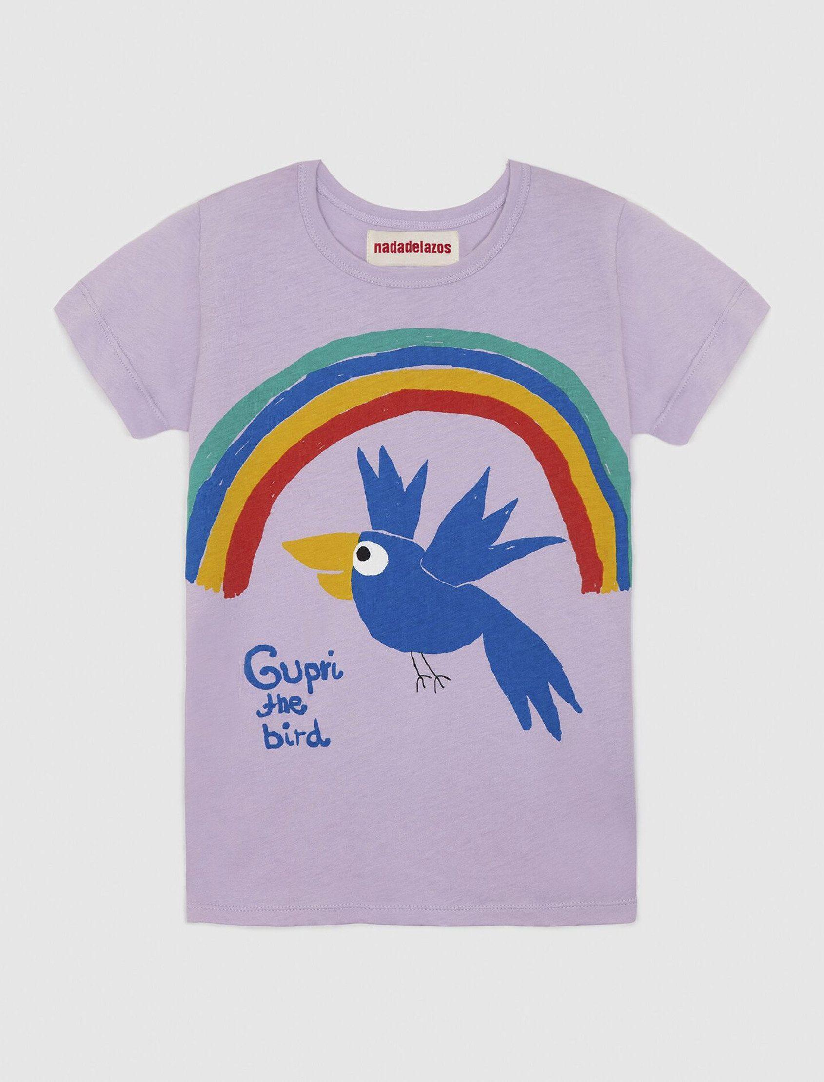 Camiseta de manga corta con estampado local Gupri Bird de Nadadelazos ss20. Los tamaños pequeños tienen una abertura con broches en el hombro izquierdo.