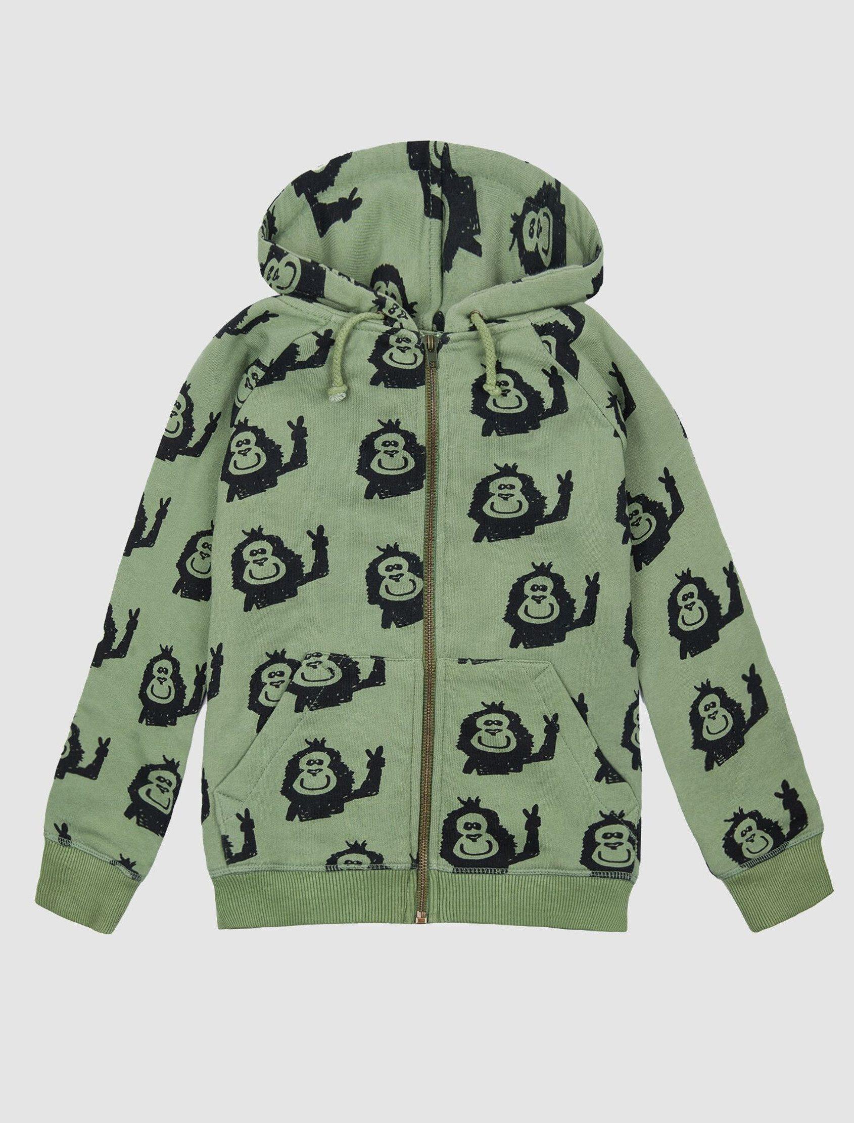Chaqueta tipo sudadera con capucha, bolsillo canguro y estampado Kapi de Nadadelazos colección ss20.