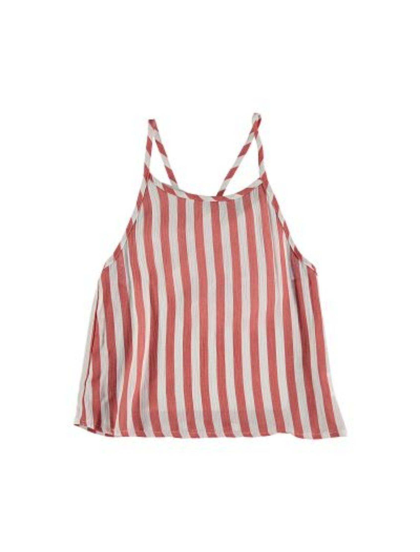 blusa top de rayas en rojo y blanco de piñata pum