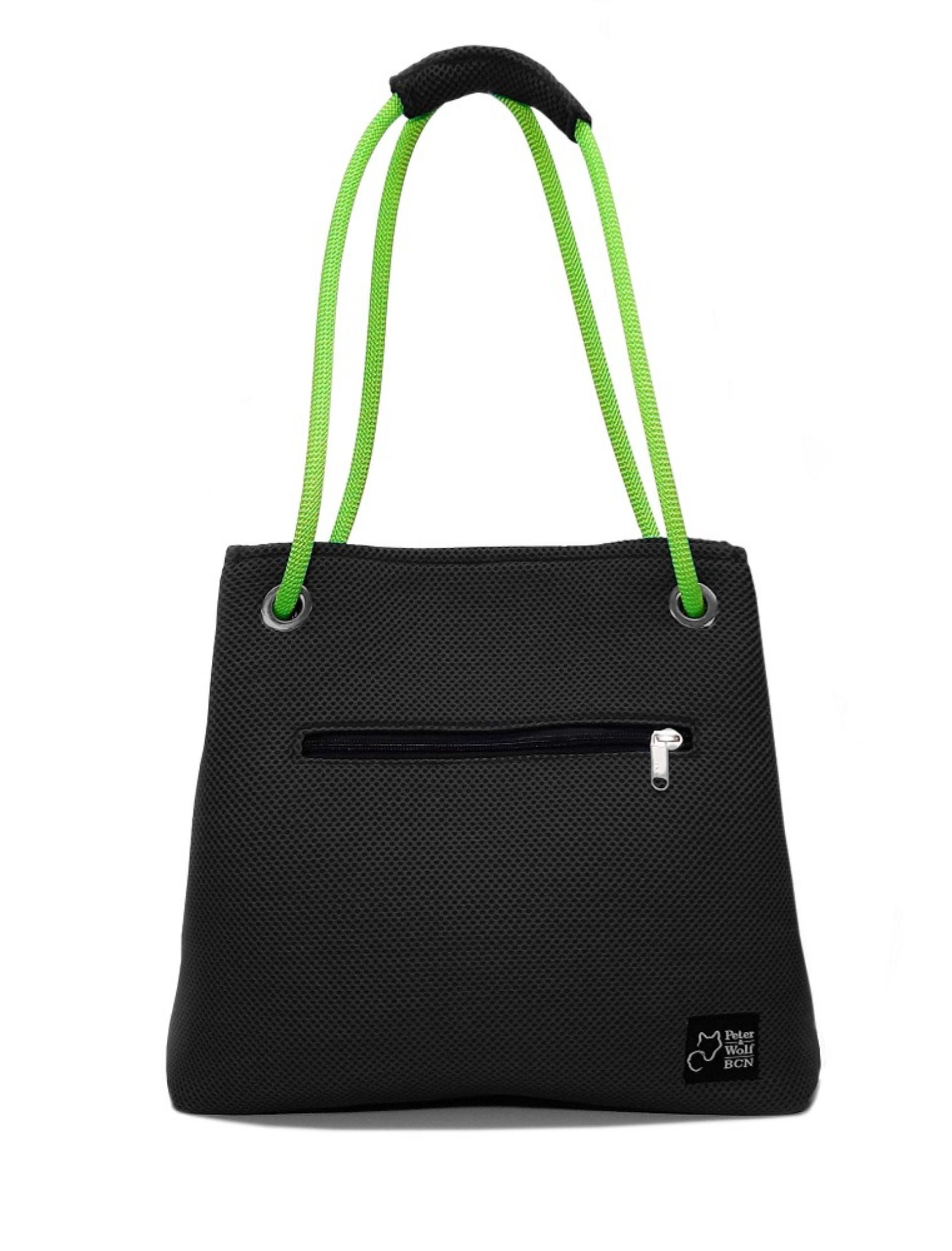 Bolso en tejido 3d color negro y asa verde pistacho