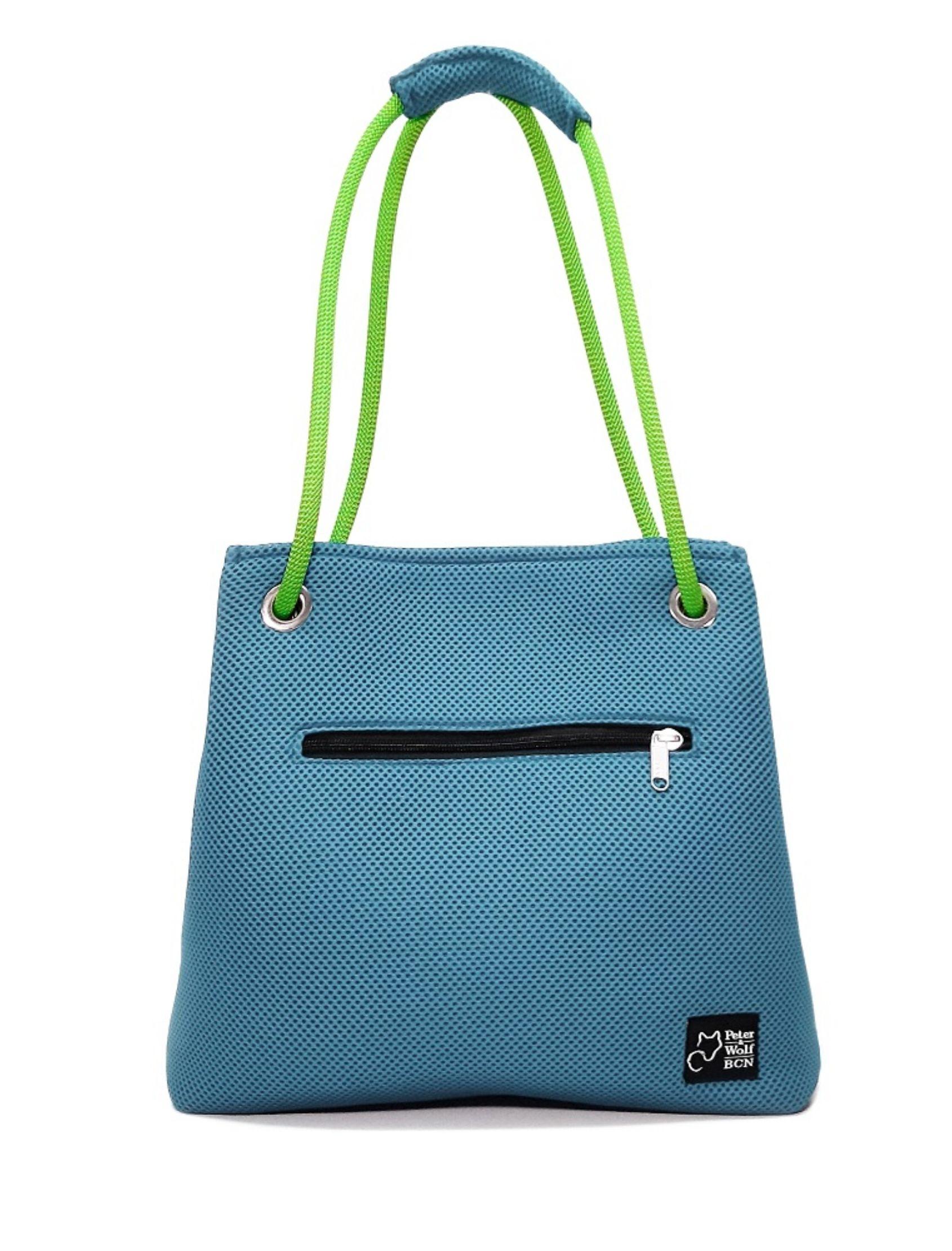 Bolso en tejido 3d color azul celeste y asa verde pistacho