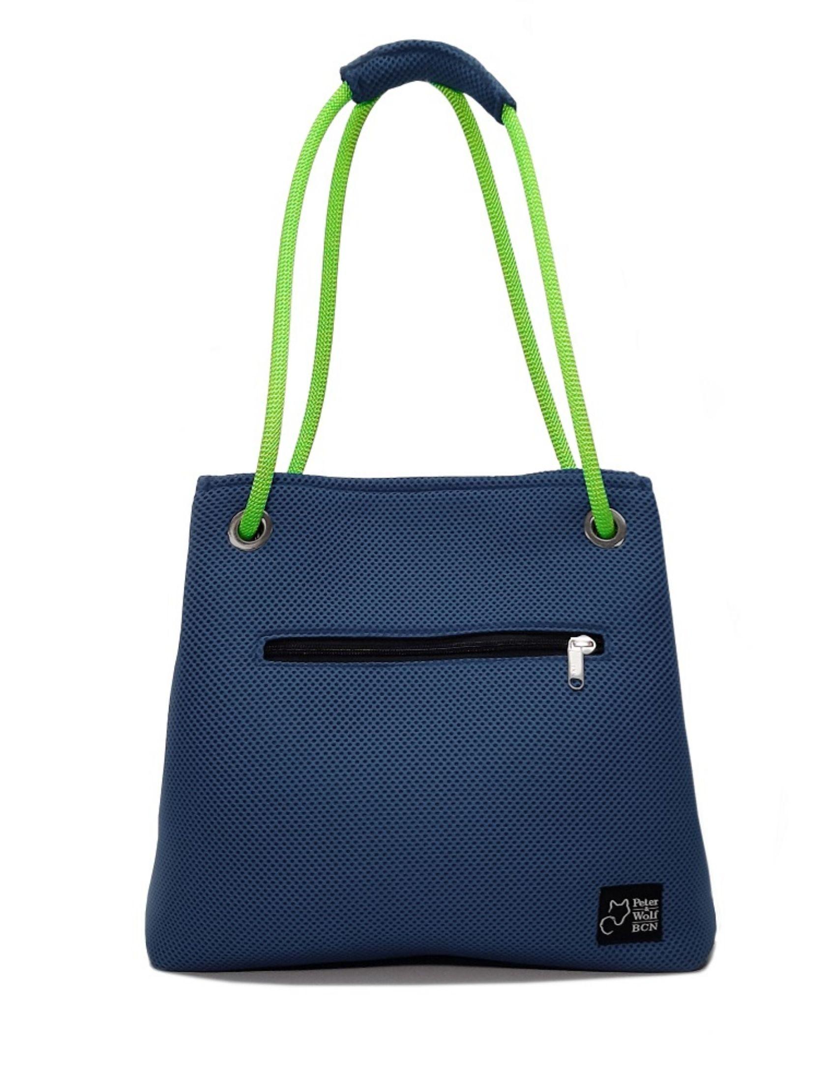 Bolso en tejido 3d color azul marino y asa verde pistacho