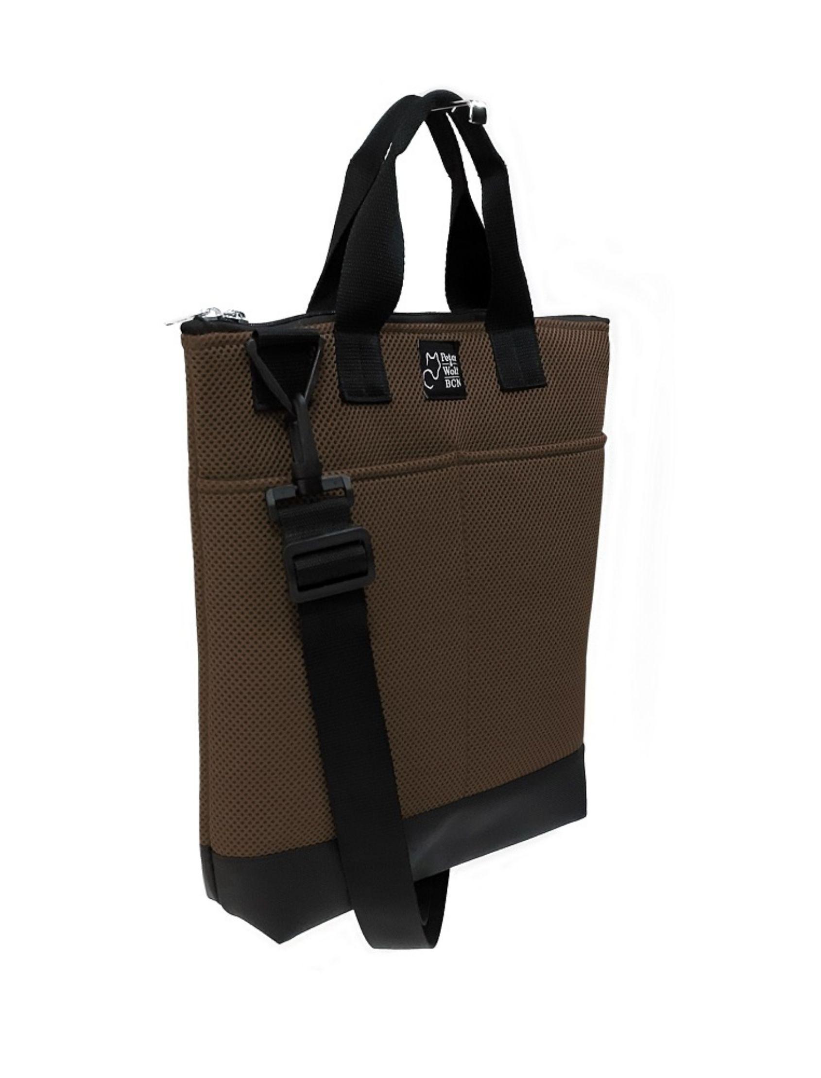 bolso tote bag pockets marrón cielo con tejido técnico en azul klein con asa corta y bandolera