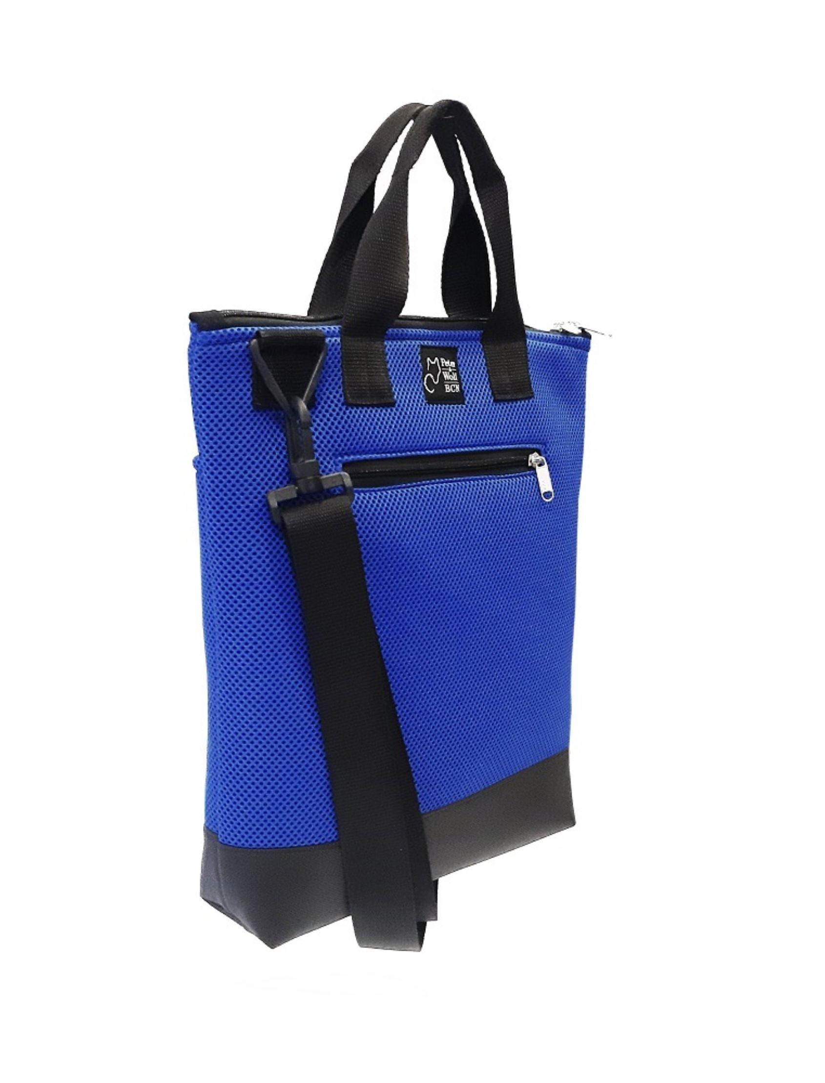 bolso tote con tejido técnico en azul klein con asa corta y bandolera