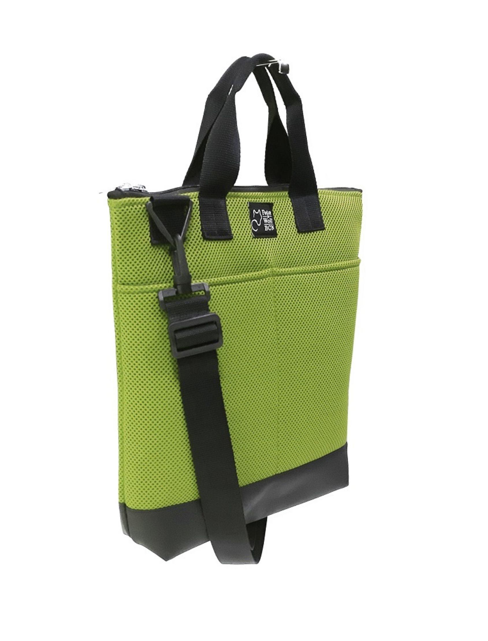 bolso tote bag pockets pistacho con tejido técnico en azul klein con asa corta y bandolera