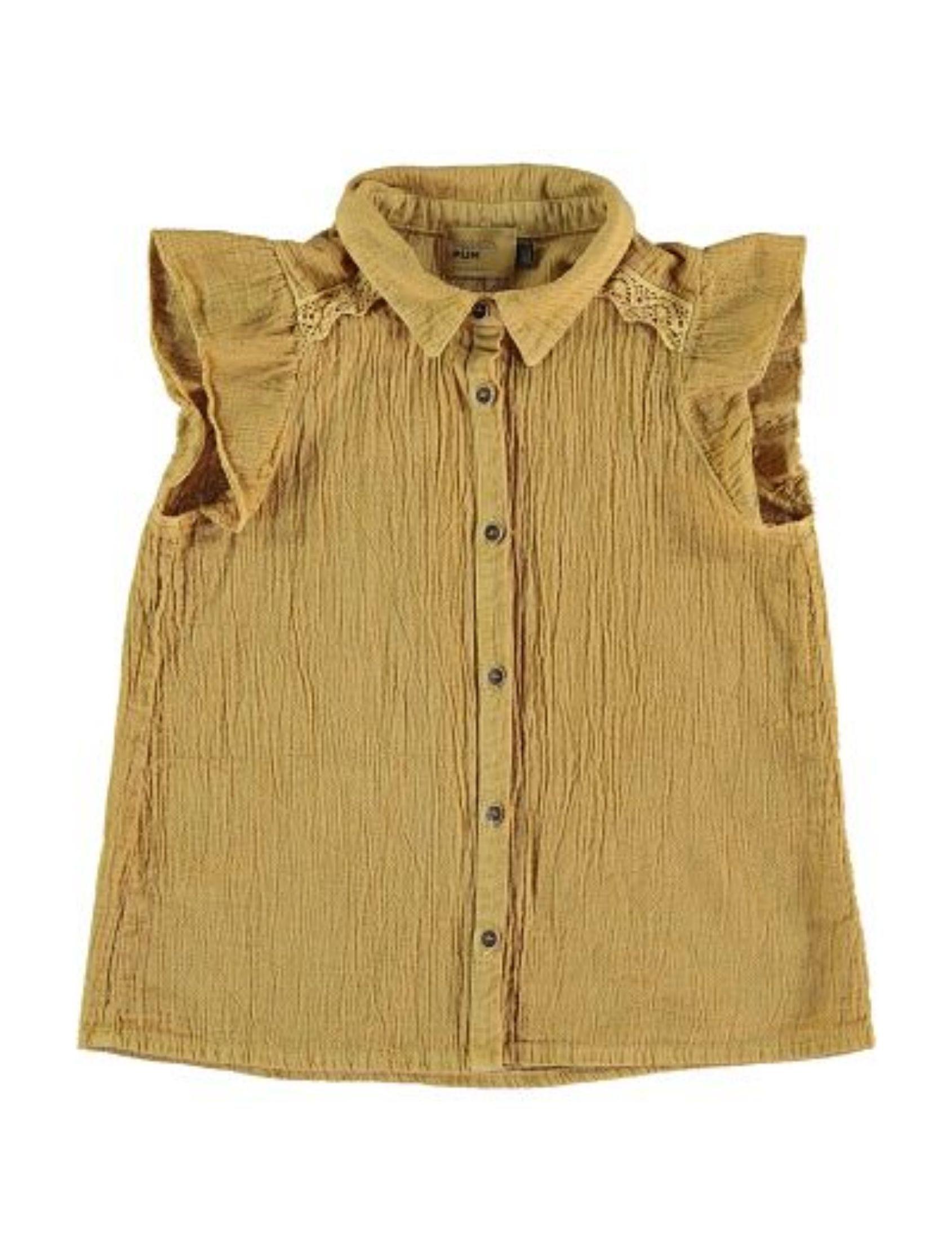blusa ocre de sisas con volante en manga y botones delanteros