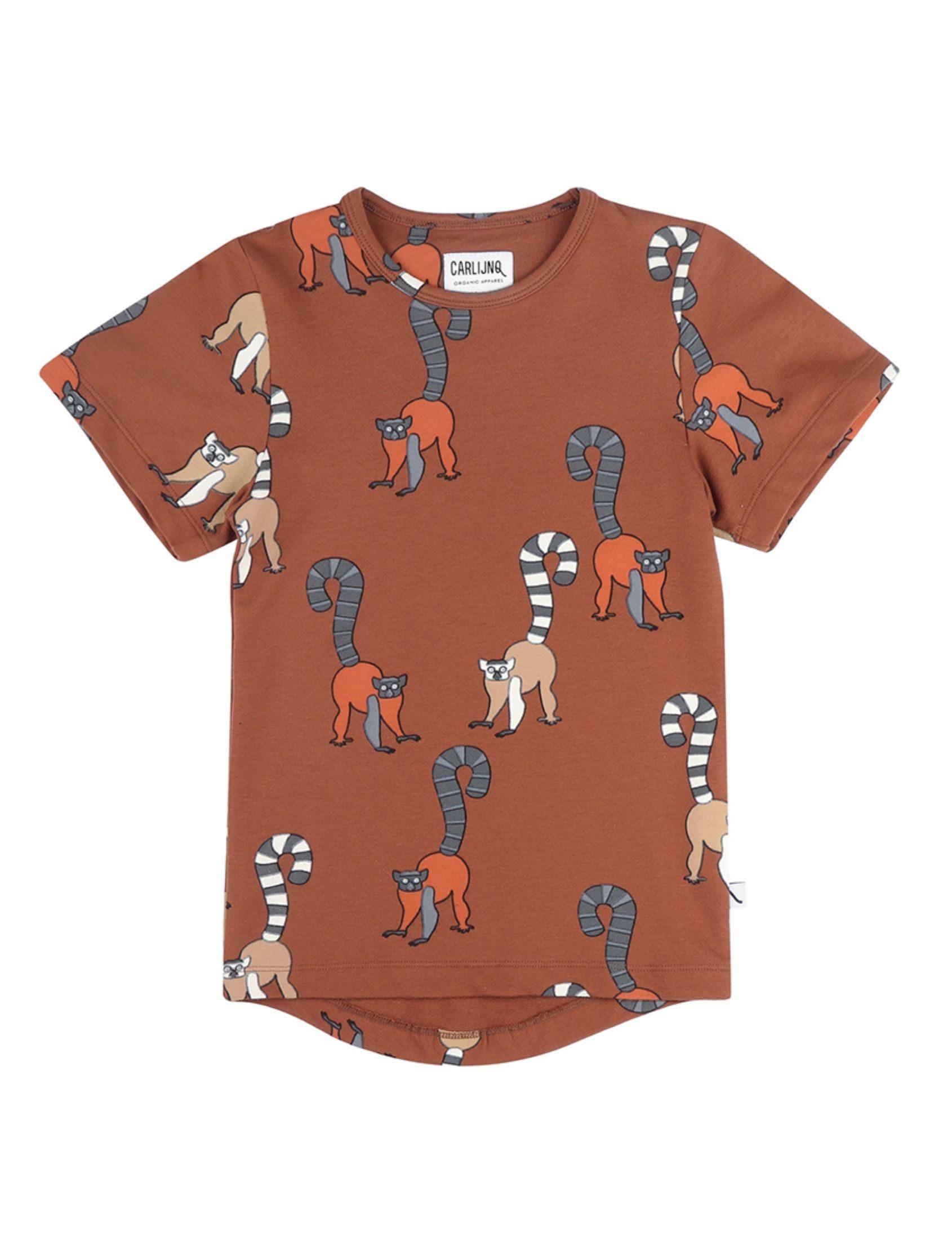 camiseta infantl con estampado animal en tono marron de carlijnq
