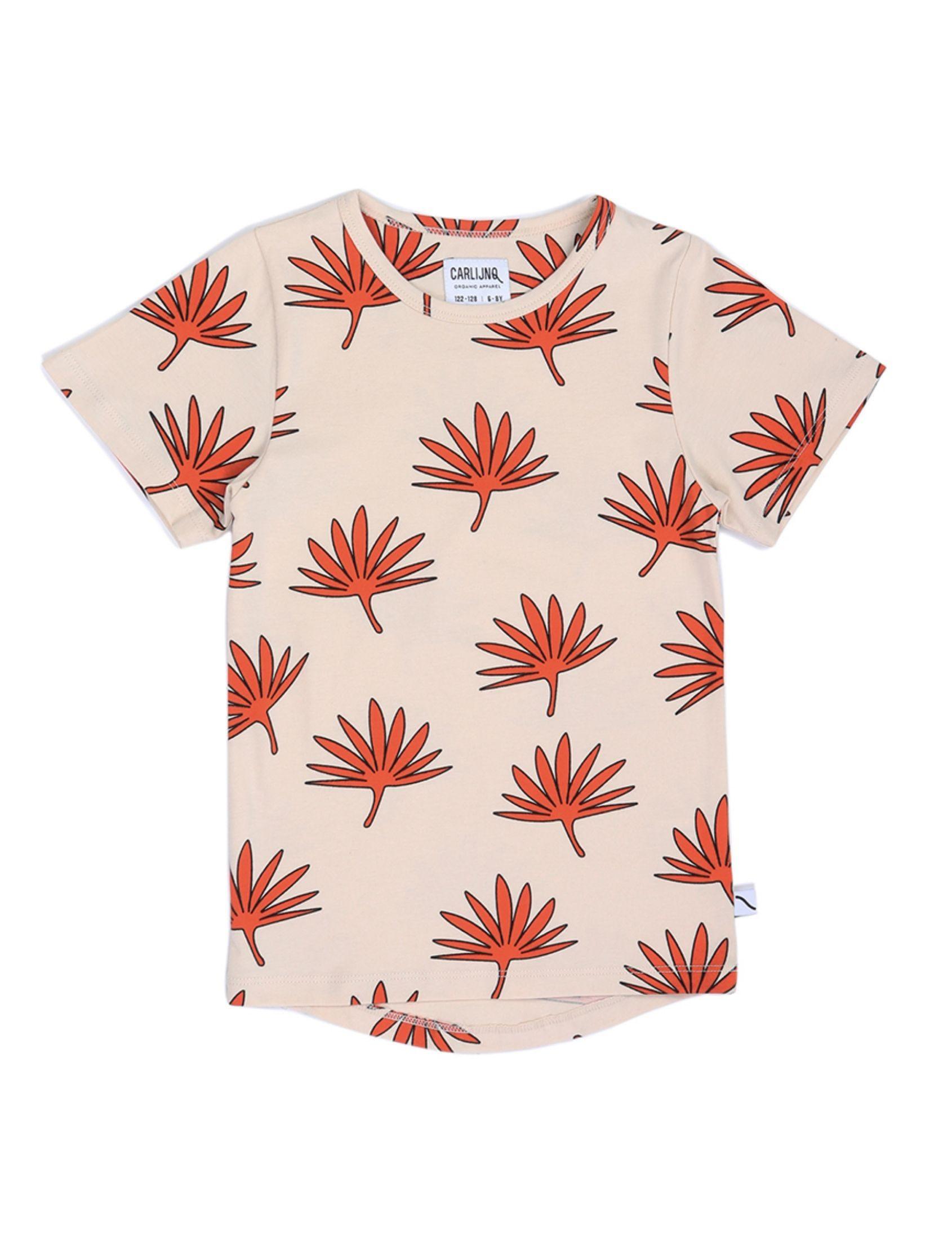 camseta nfantil de carlijnq con estampado de palmeras