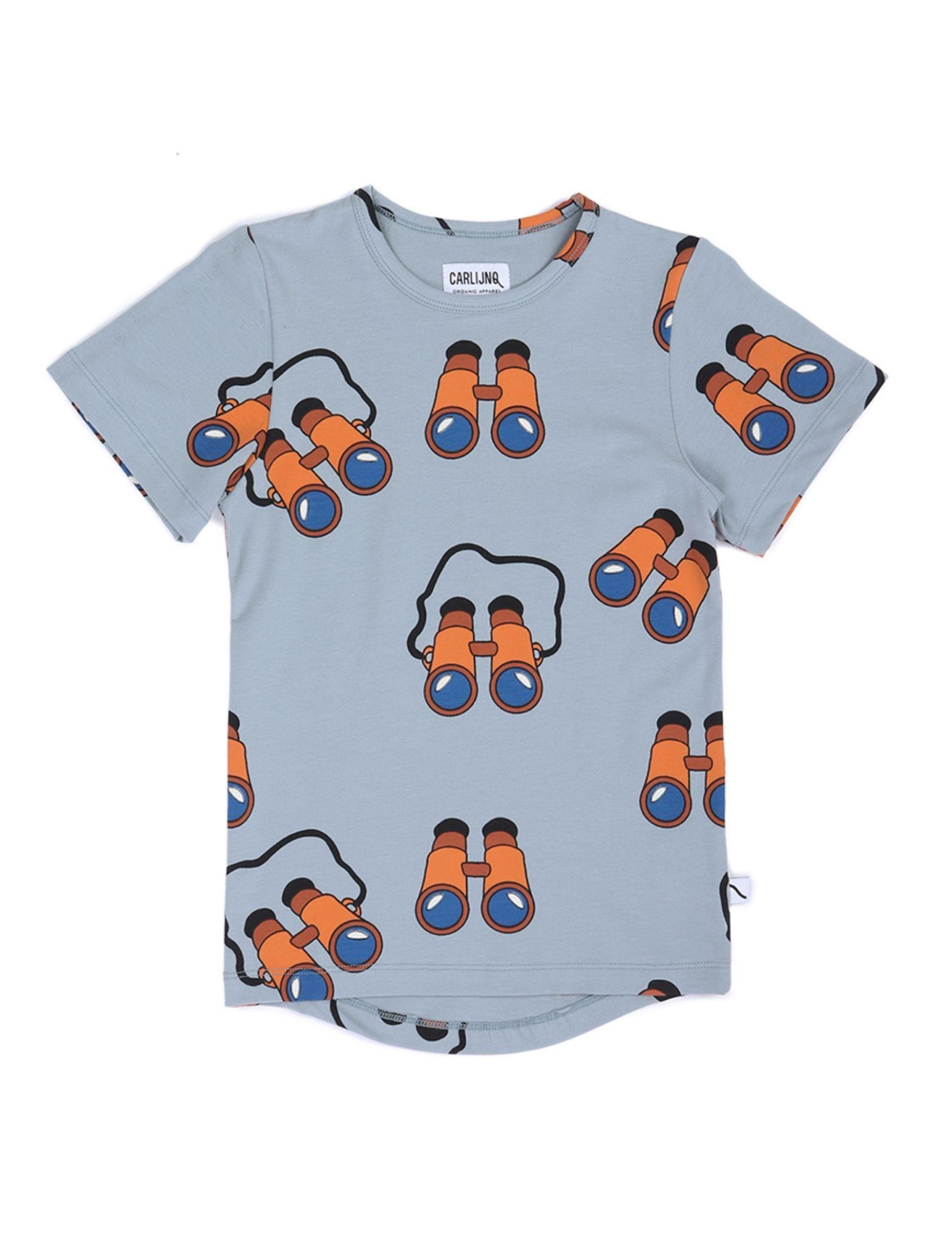 camiseta de manga corta nfantil con estampado de binoculares de carlijnq