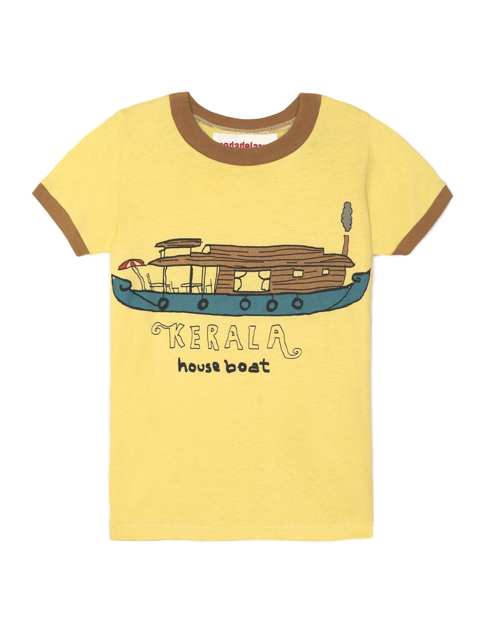 camiseta de manga corta en color amarillo con detalle marrón en cuello y mangas de nadadelazos