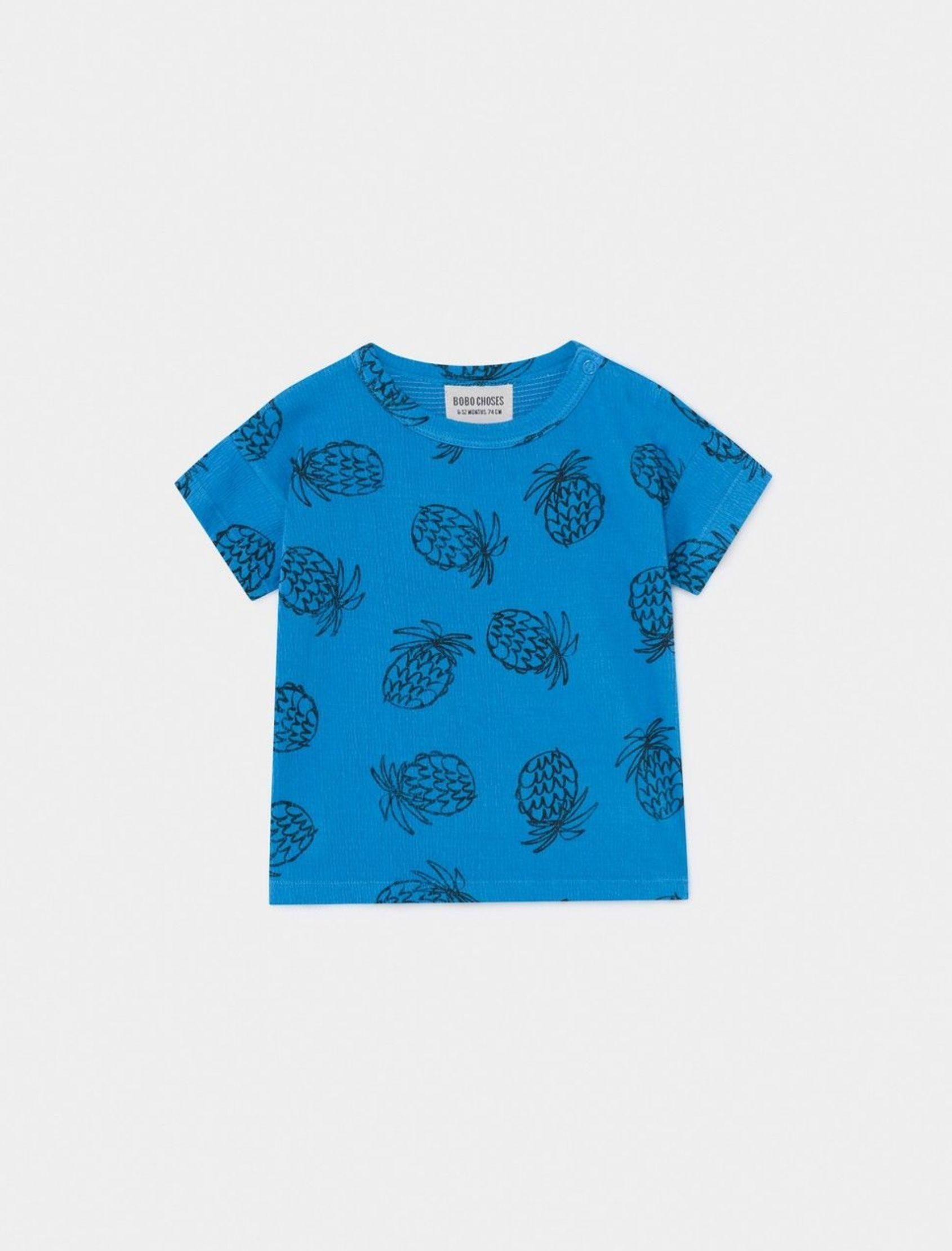 camiseta de bebe con manga corta y estampado de piñas de bobo choses