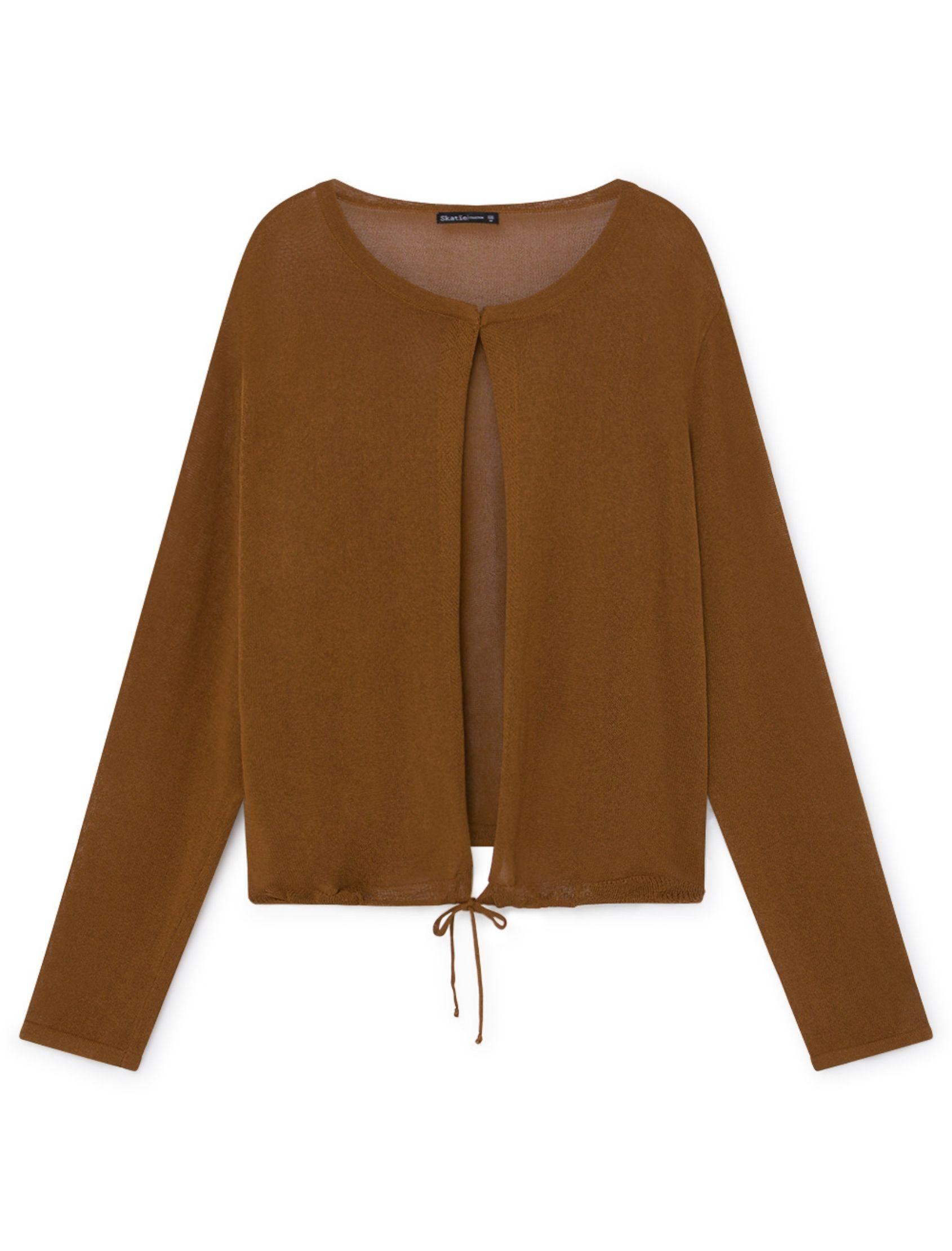 chaqueta de punto con cierre de cordón en tono camel