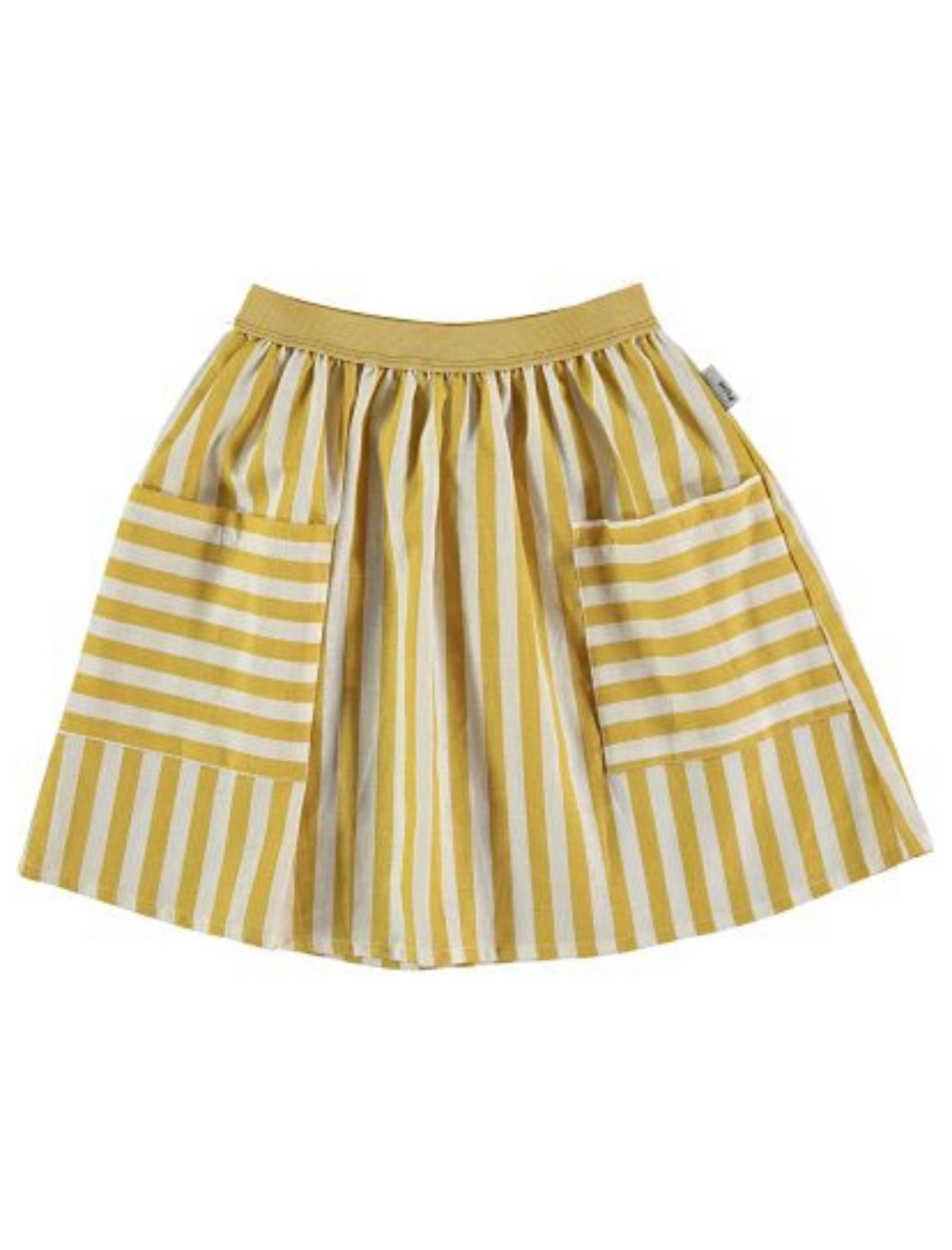 falda de rayas ocre y beige con vuelo y bolsillos de piñata pum