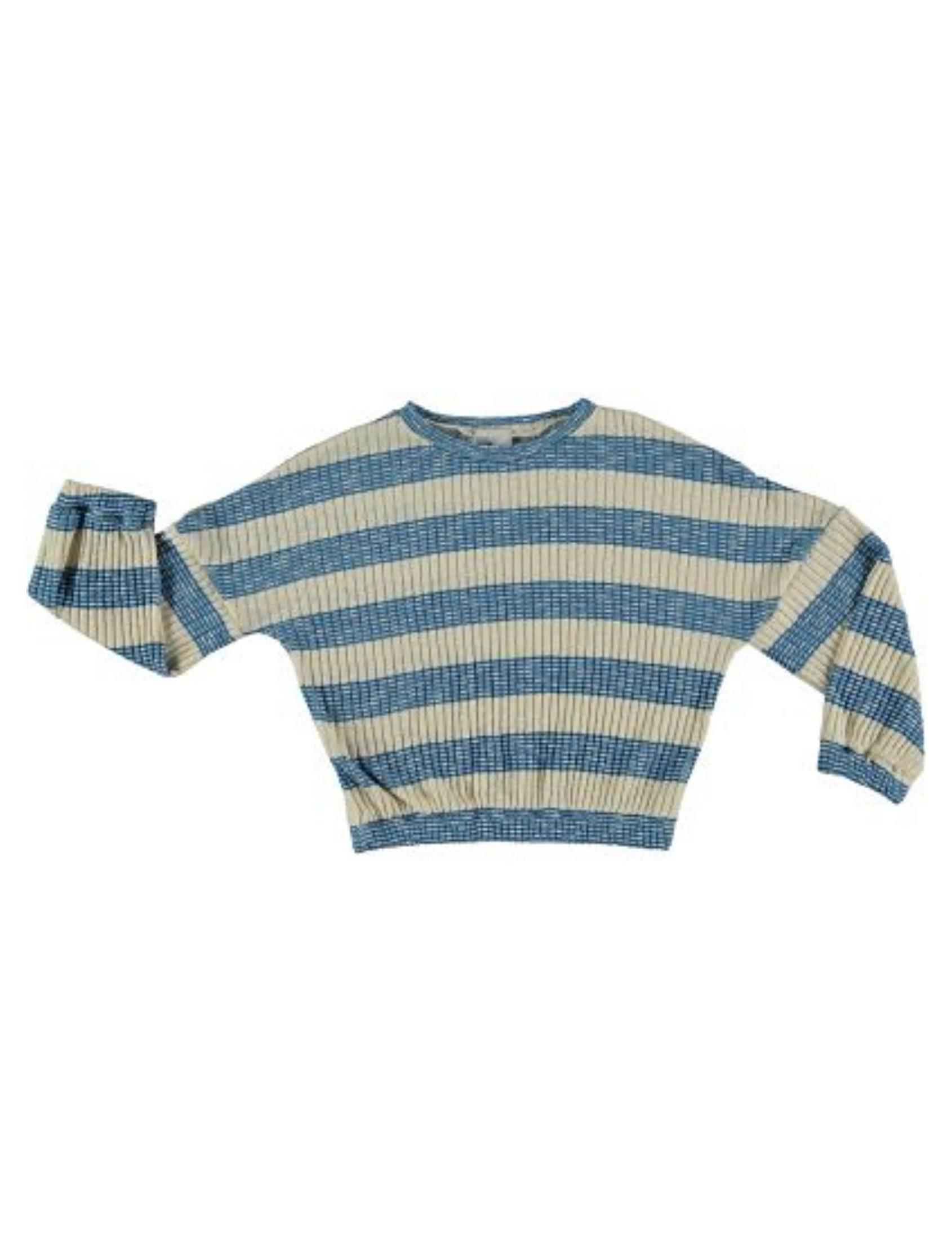 jersey de punto con estampado de rayas azul y blanco