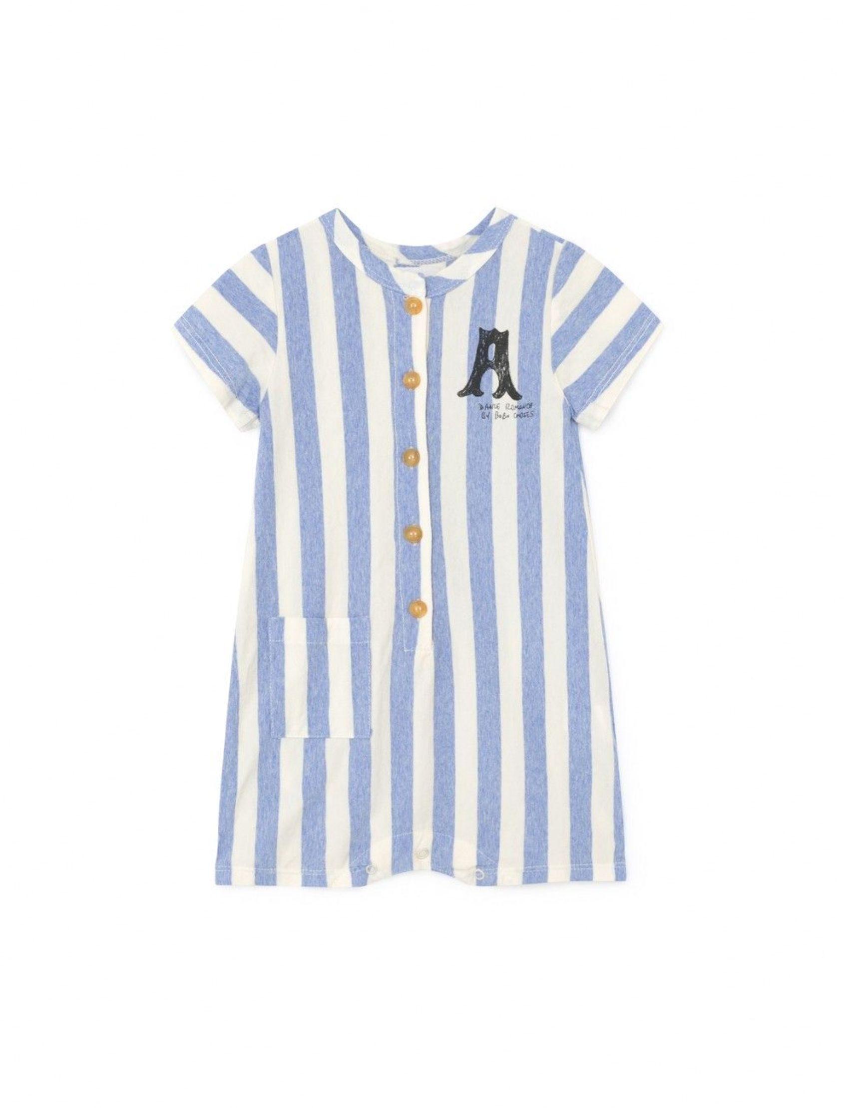 mono pelele bobo choses de bebé con rayas multicolo en azul y blanco y botones de madera