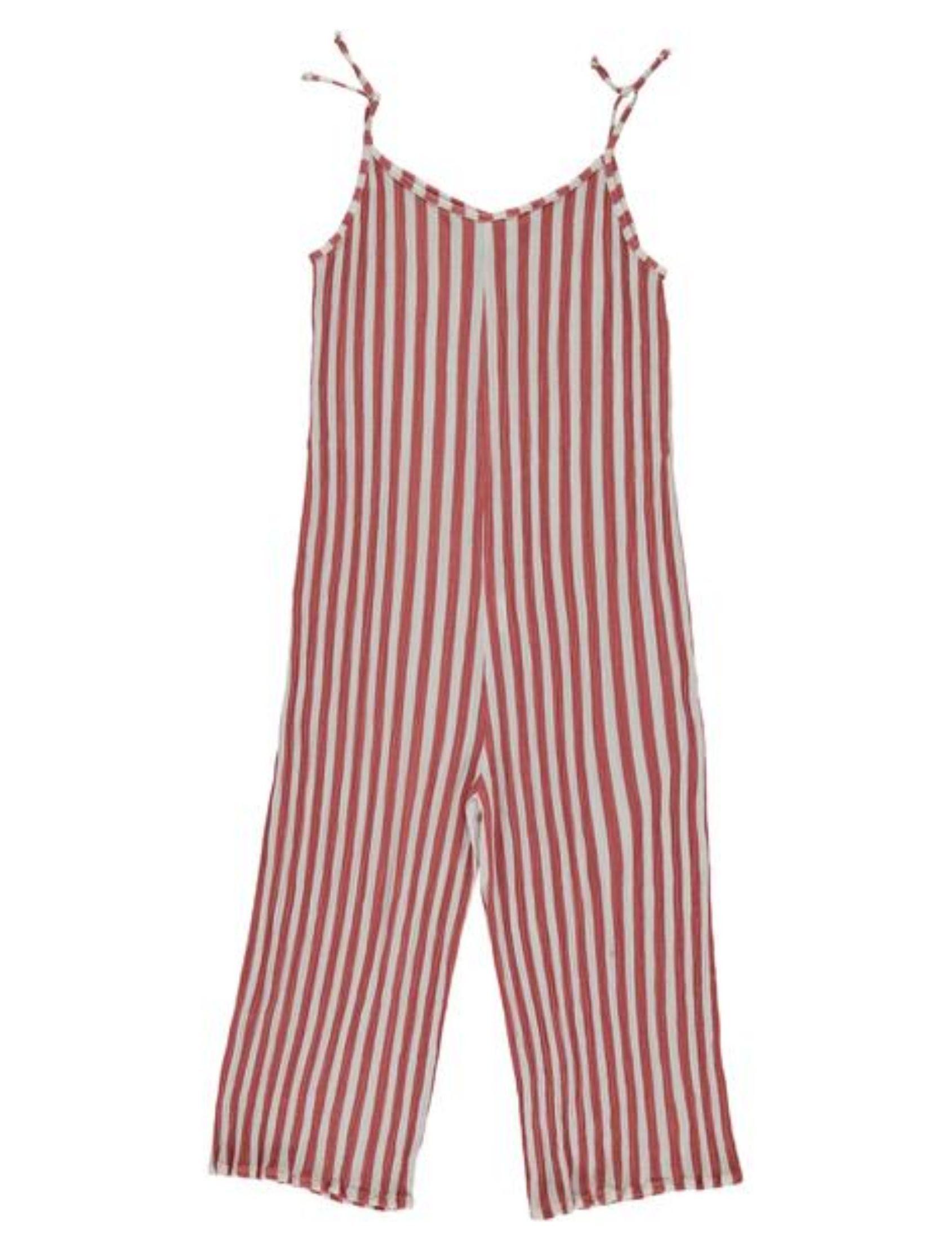 mono con estampado de rays en rojo y blanco y sisas de piñata pum