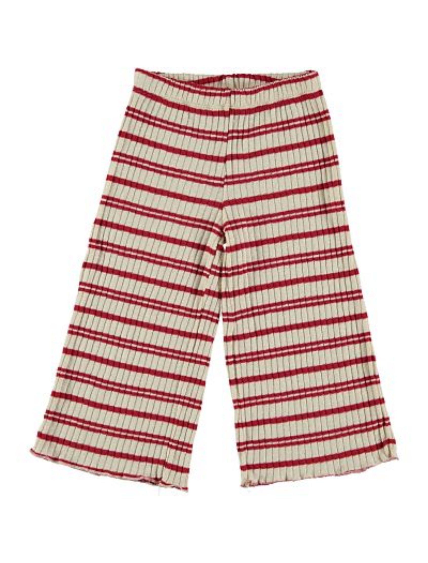 pantalón tricot con rayas granates y de corte palazzo