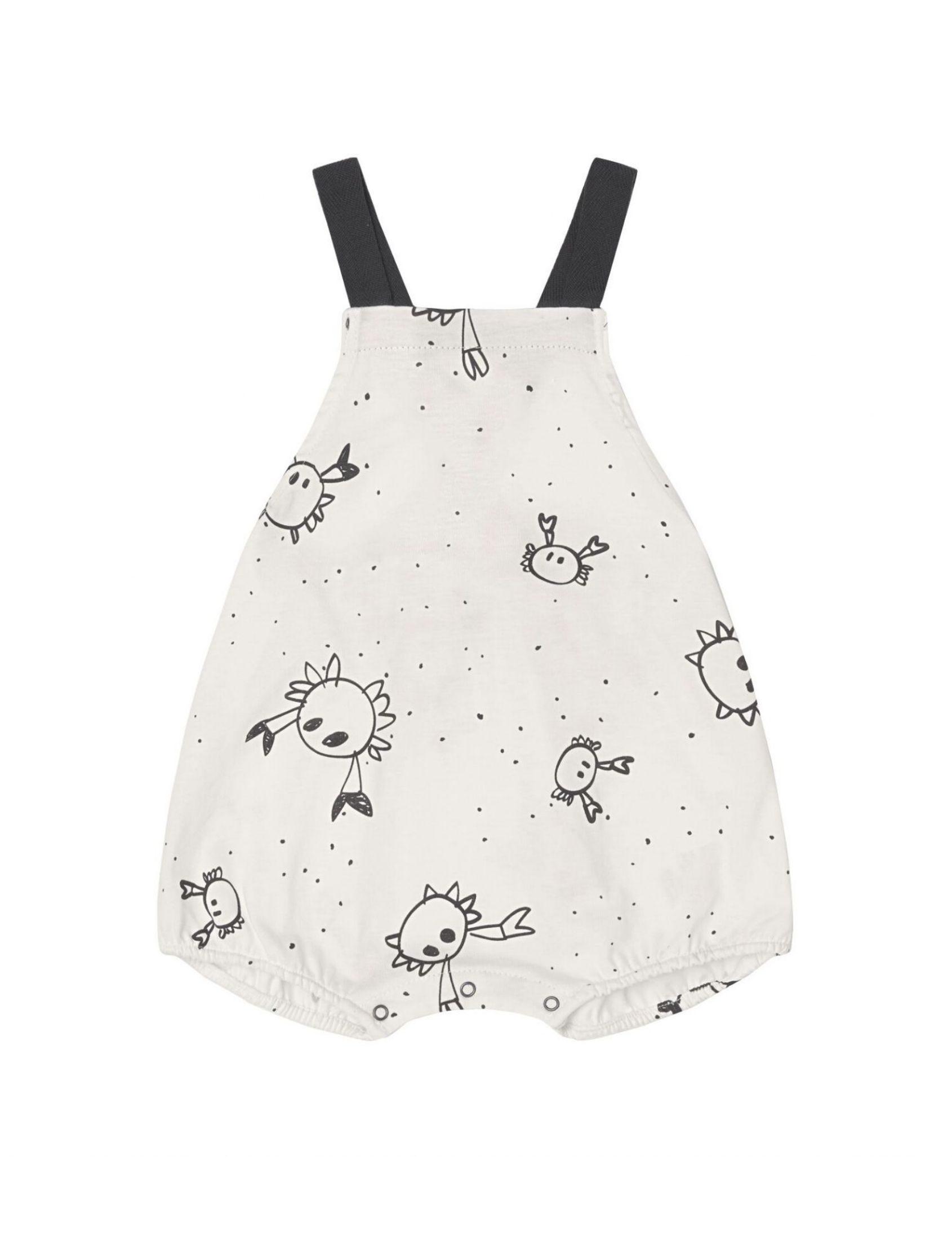 pelele corto crabs con fondo blanco estampado infantil y asas negras