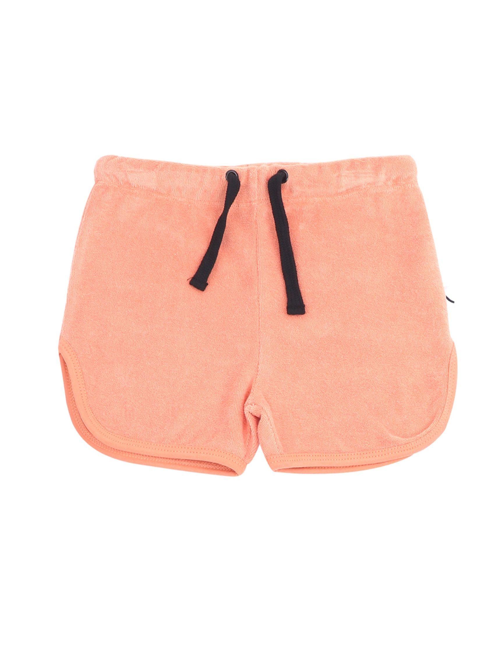 short básico con tejido de toalla en color naranja, goma en la cintura y cordón en negro