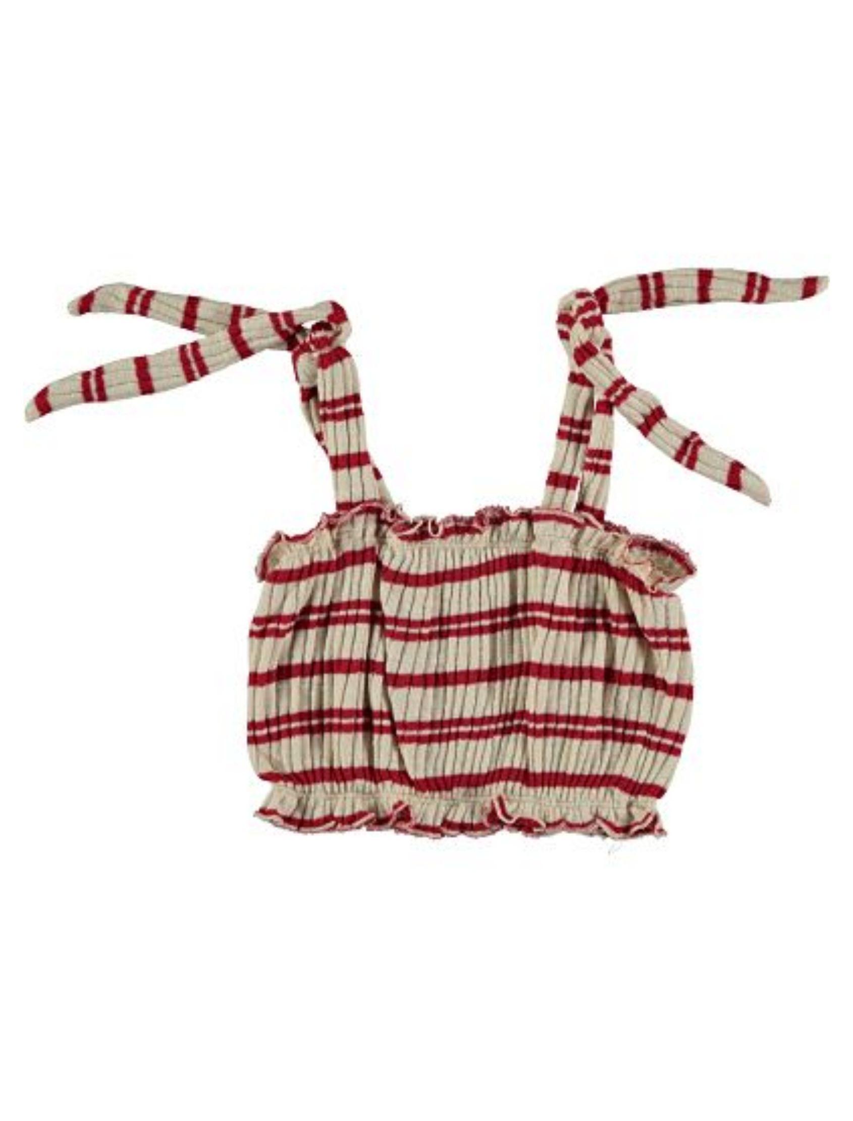 crop top tricot de rayas grante y rojo de piñata pum