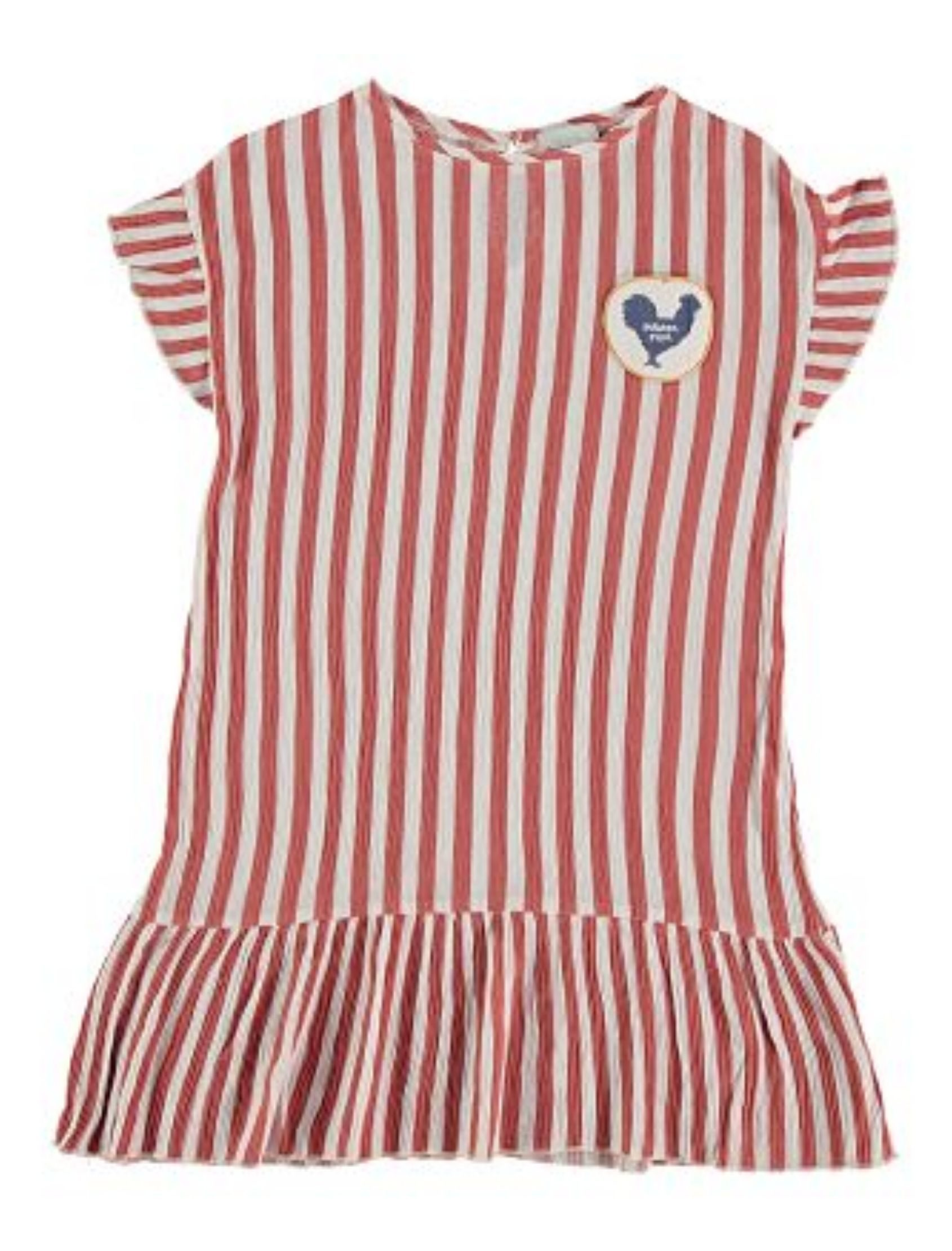 vestido laia con rayas en rojo y blanco de piñata pum. Volante en mangas y bajo y parche de gallo