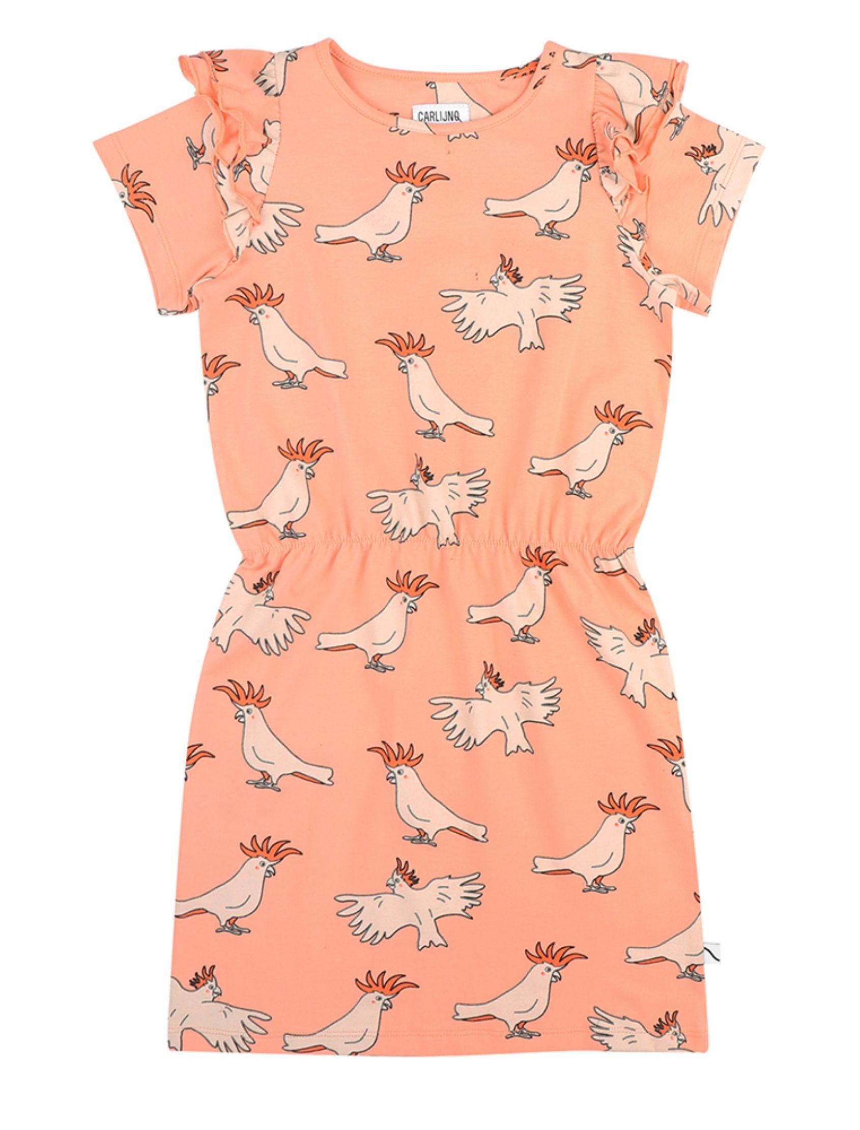 vestido con volantitos en los hombros y estampado de loros de carlijnq en tono rosado