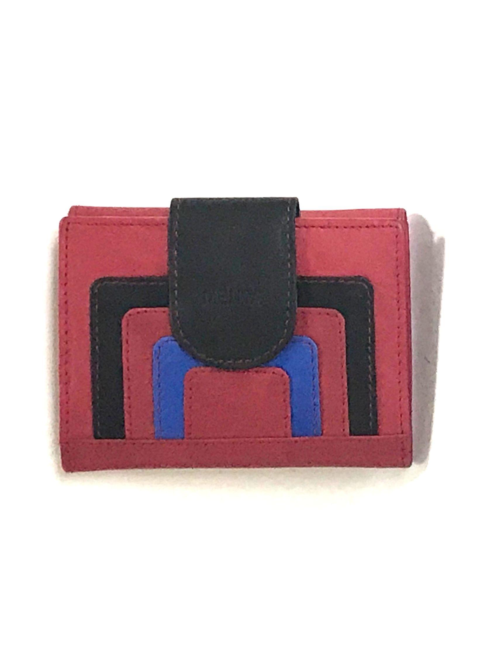 cartera billetera de piel en color rojo combinado con negro y azul de bermejo eulogio