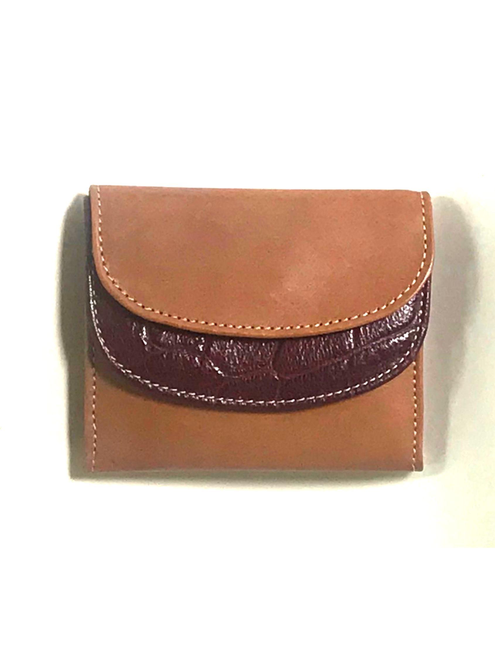 cartera billetera de señora en color cuero-corinto de piel