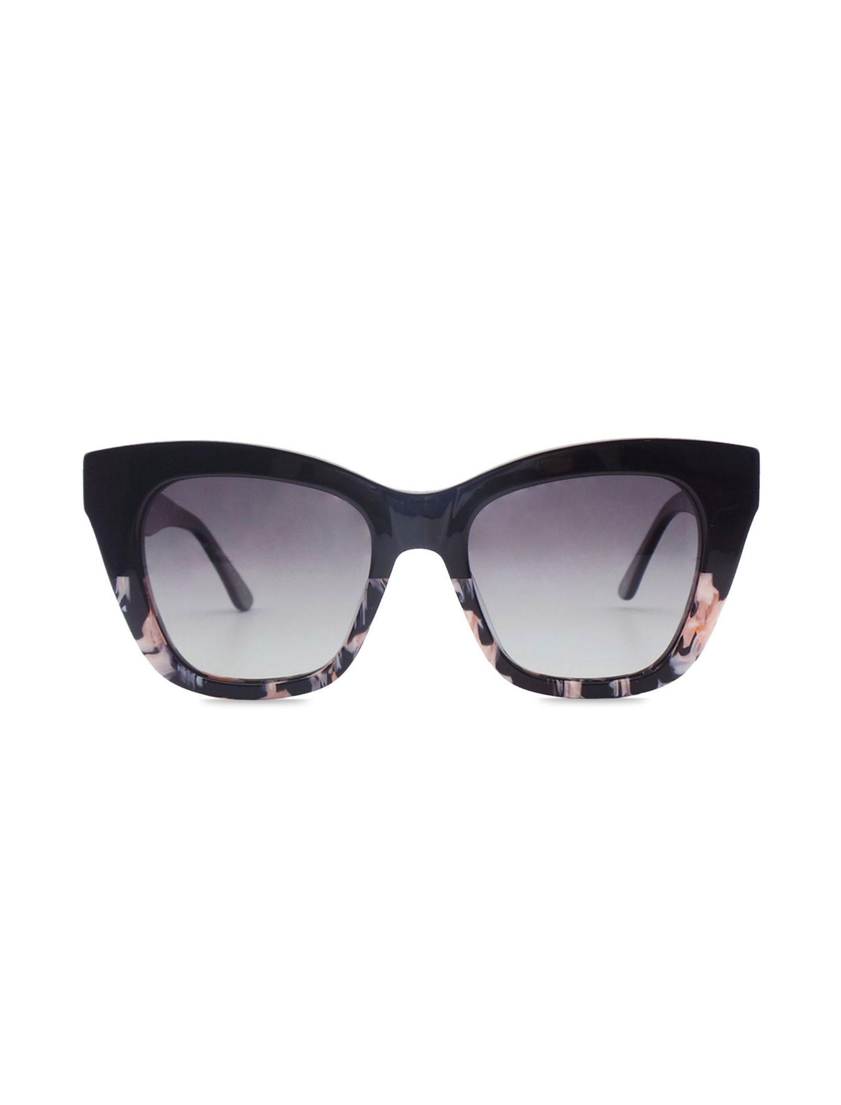 gafas de sol june peony con lente oscura en negro con carei rosa