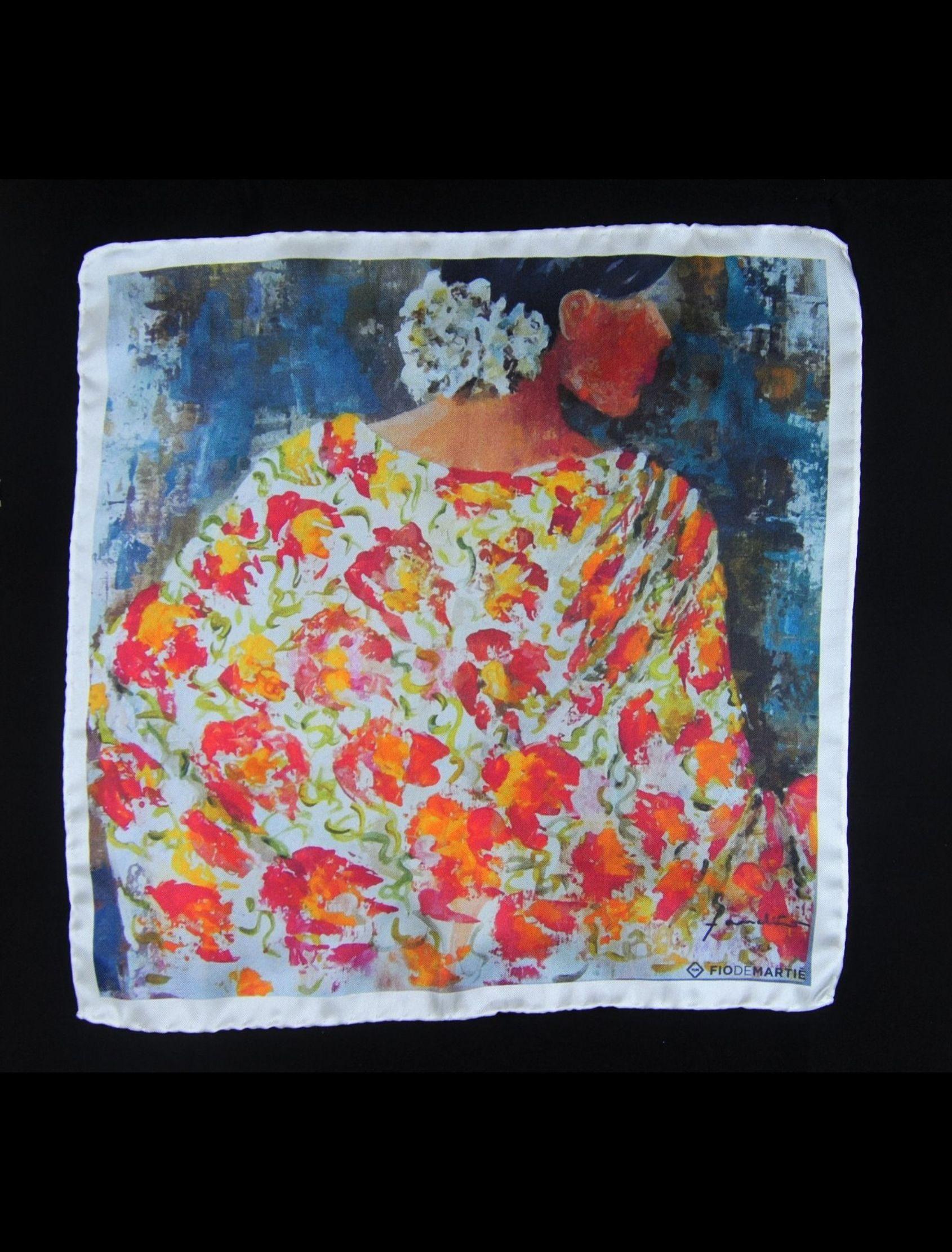 pañuelo de bolsillo con estampado de manton de manila