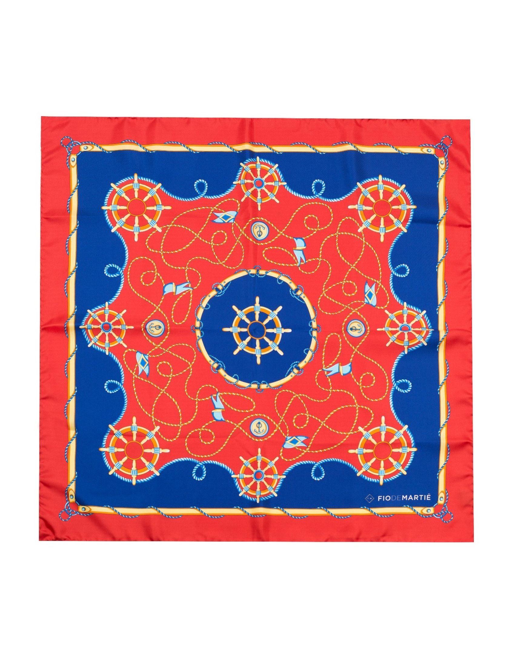 pañuelo de seda para mujer con estampado goleta de fio de martie