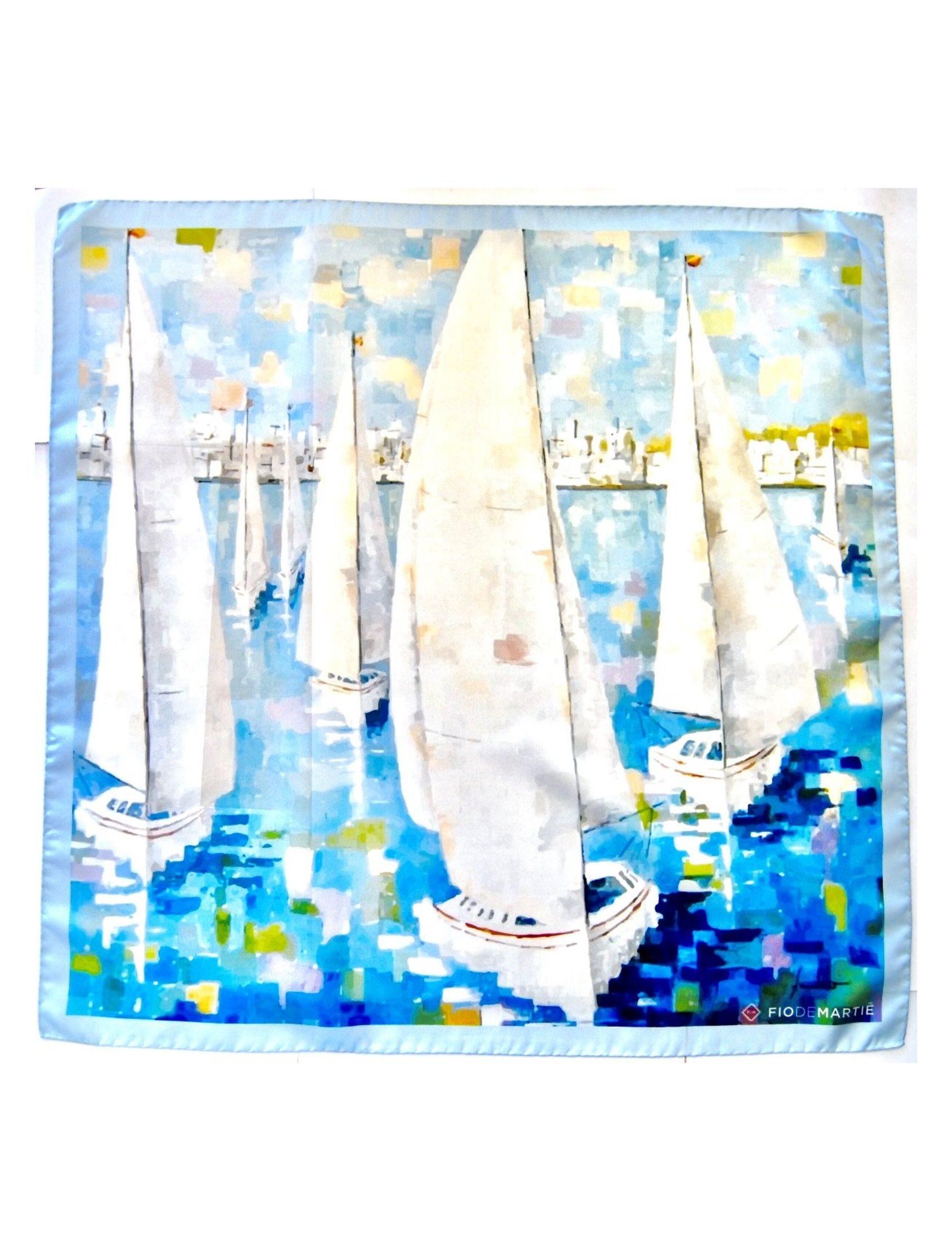 Pañuelo de seda con estampado de veleros diseño de la pintora pilar fandiño