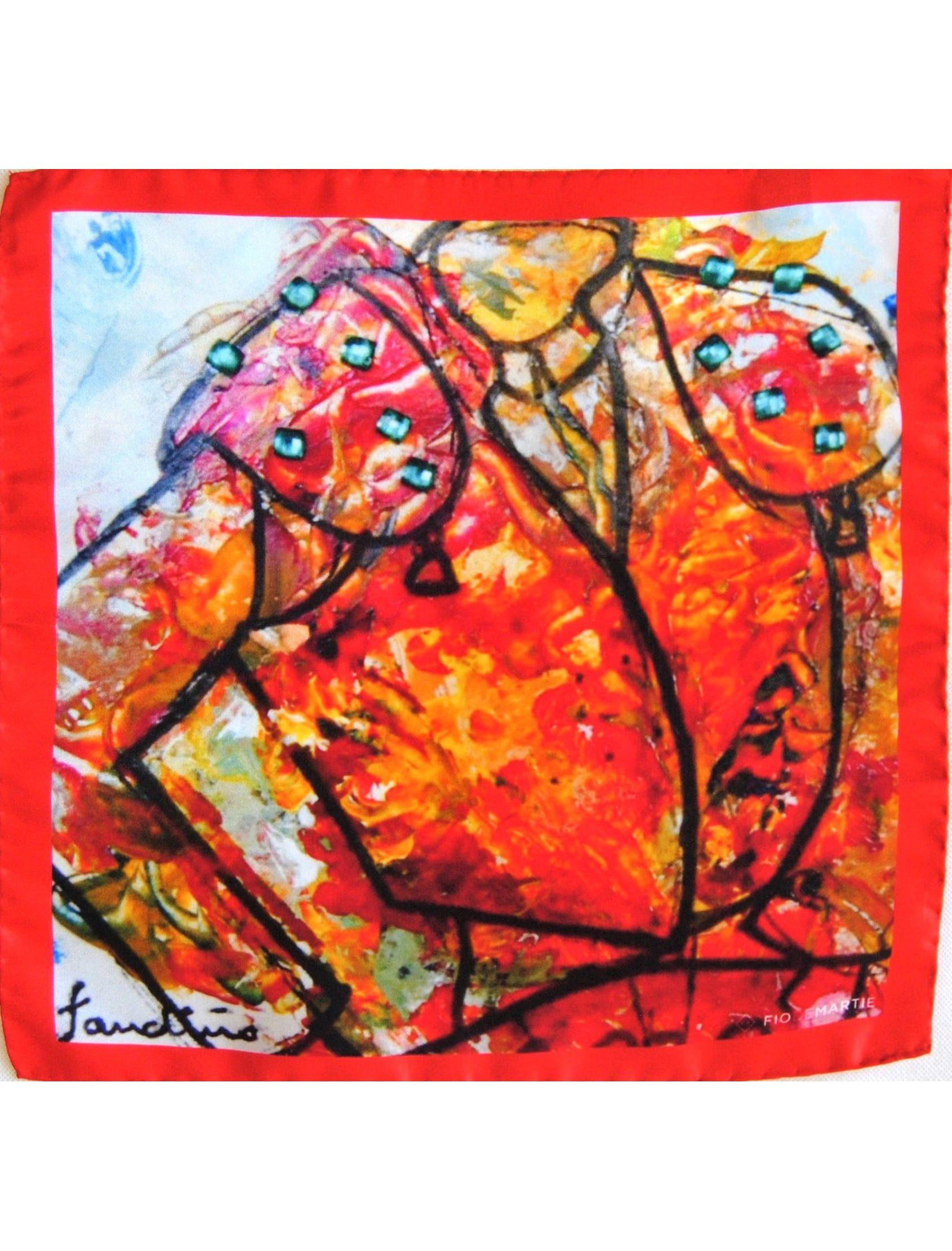 Pañuelo de bolsillo de estampado multicolor en seda italiana, fabricado a mano en España. El diseño es un cuadro de la pintora gallega Pilar Fandiño.
