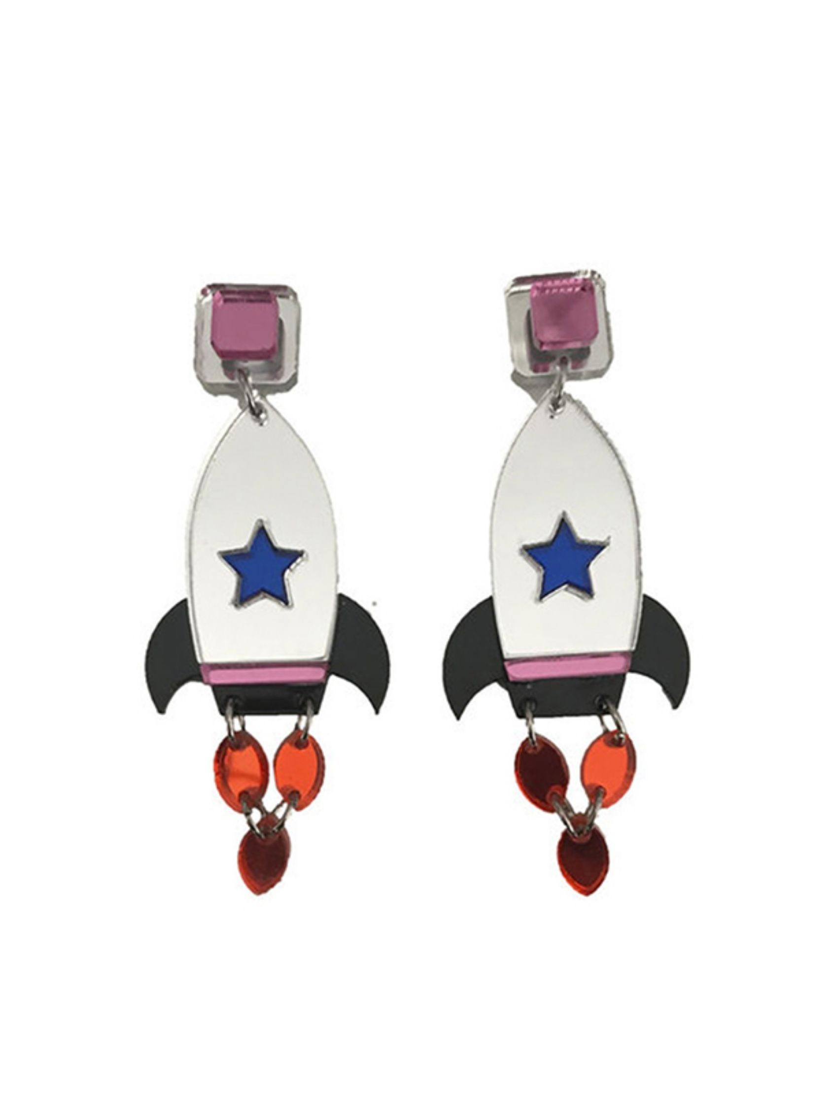 pendientes rocket con forma de cohete multicolor en metacrilato de daughter of style