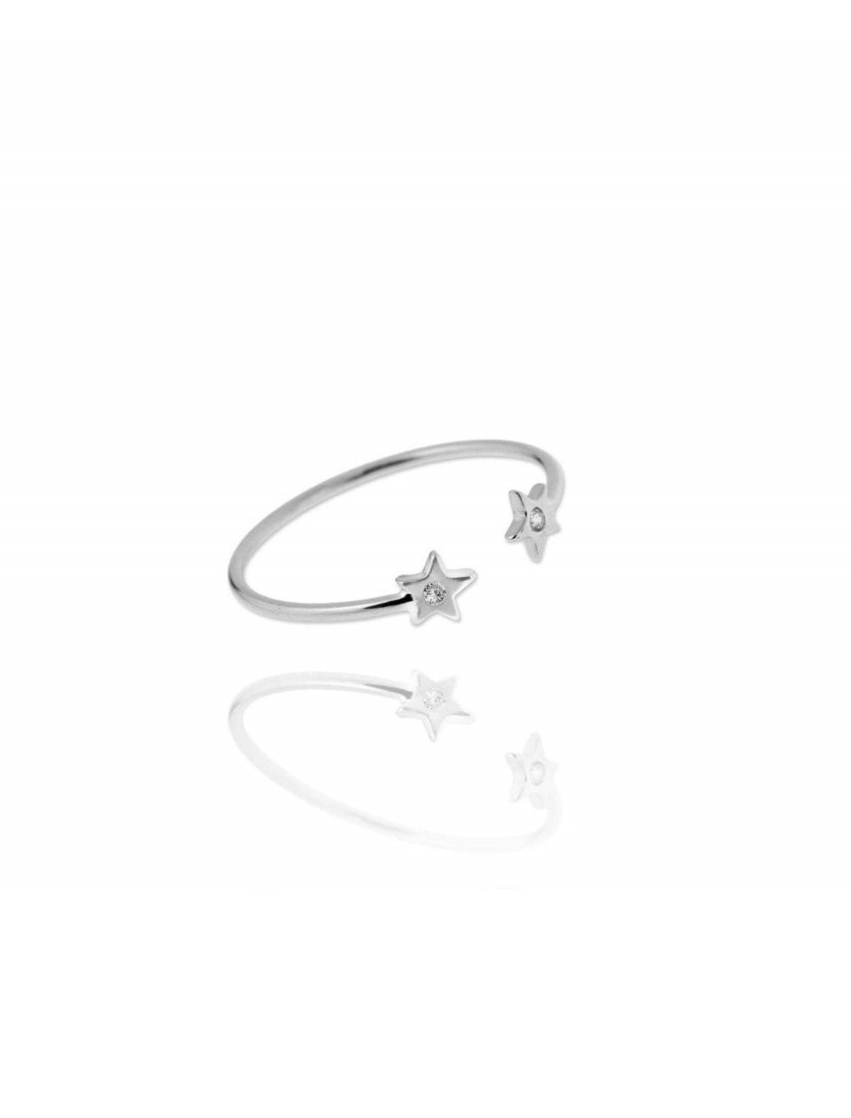 anillo estrella circo en plata con circonitas blancas