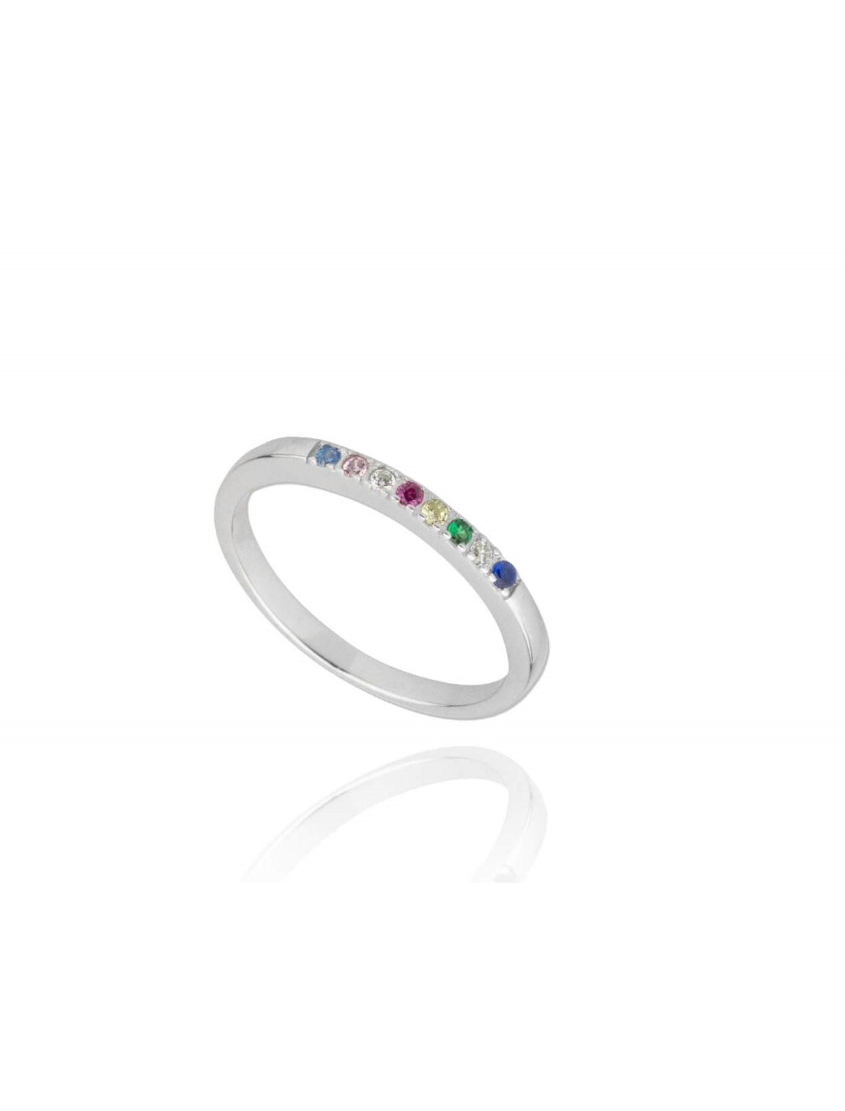 anillo glos dej plata con circonitas multicolor