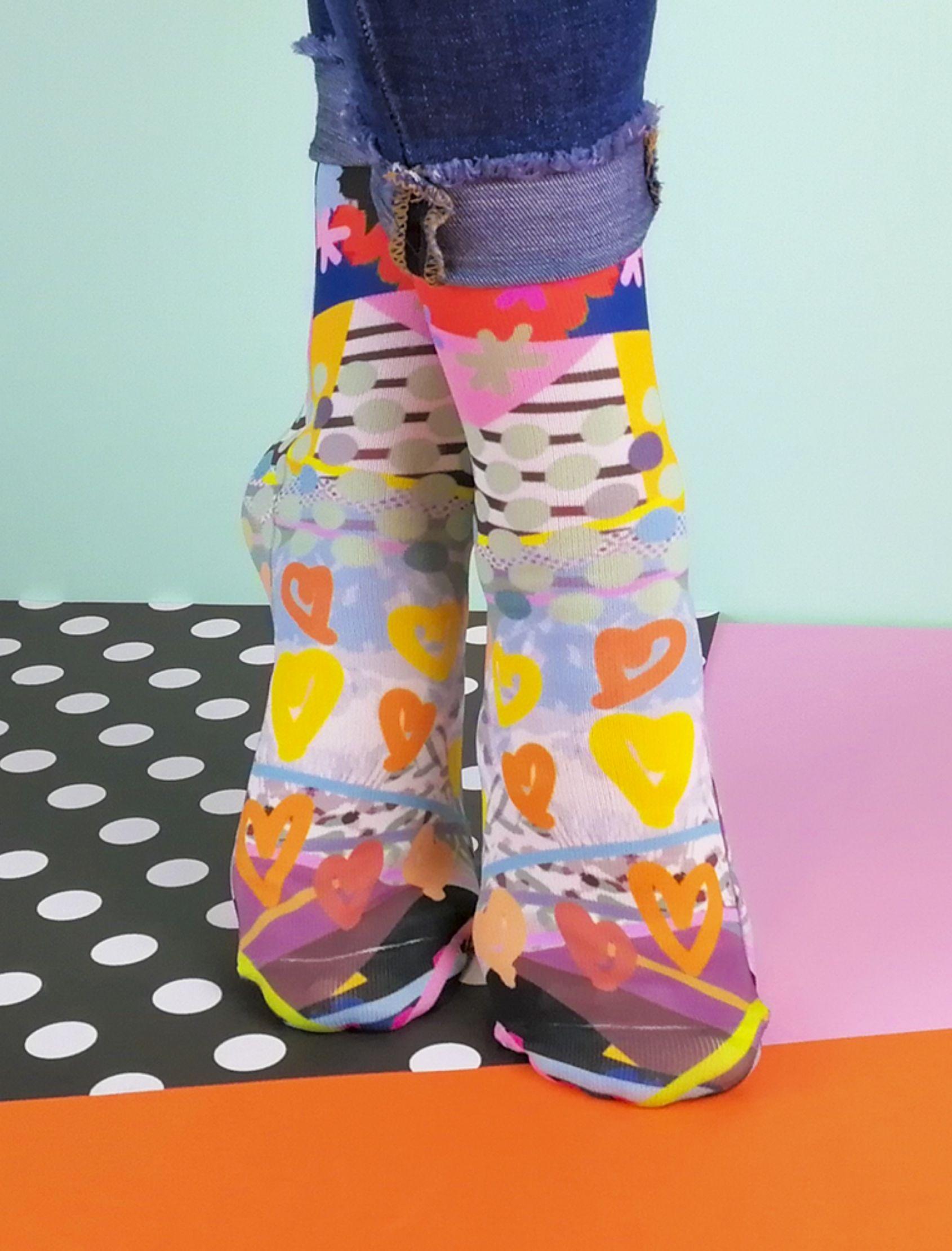 calcetines unisex estampados jump cuore de tejido técnico transpirable