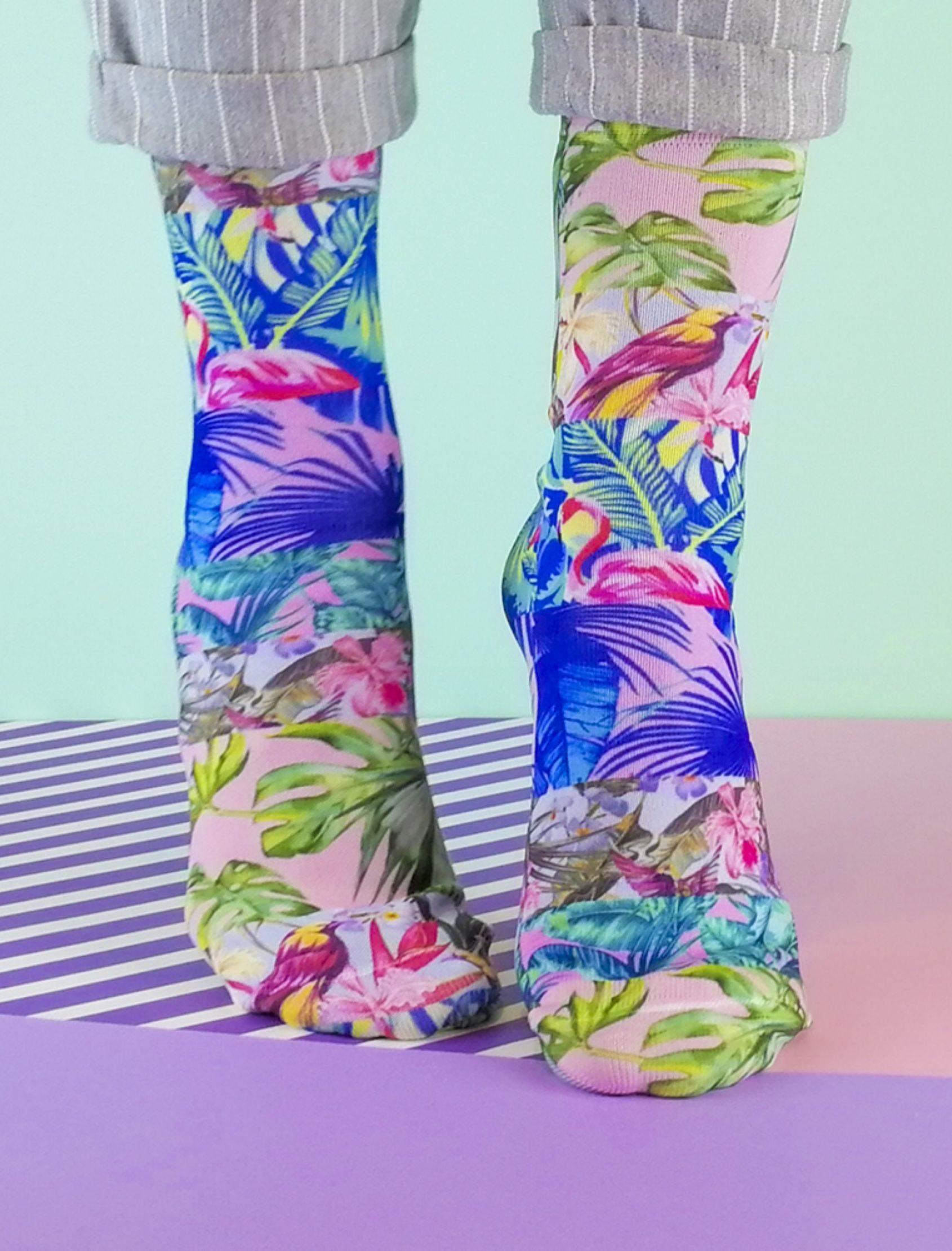 calcetines estampados multitropic multiclor para hombre y mujer