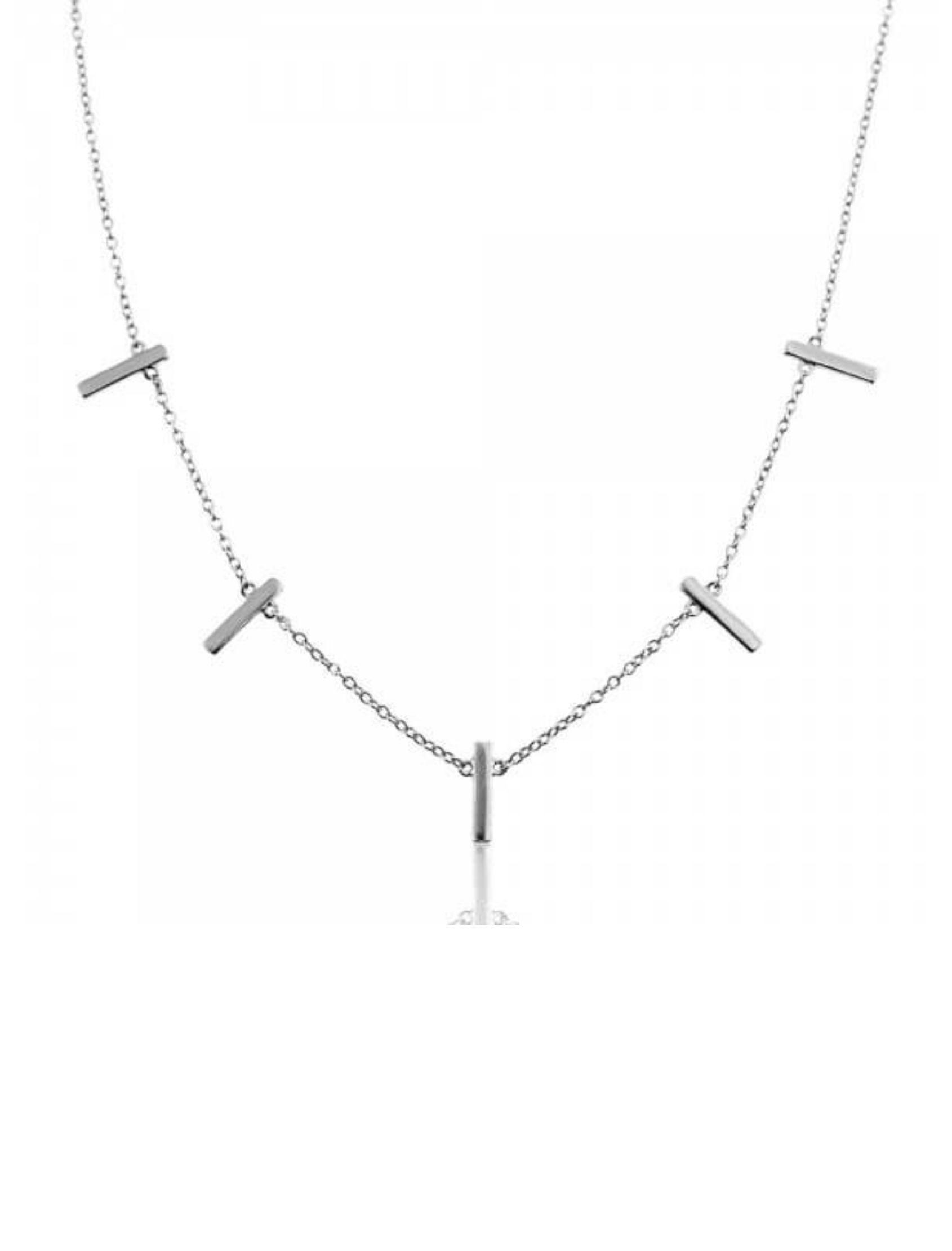 gargantilla sara con eslabones mini y detalles de piezas alargadas en plata