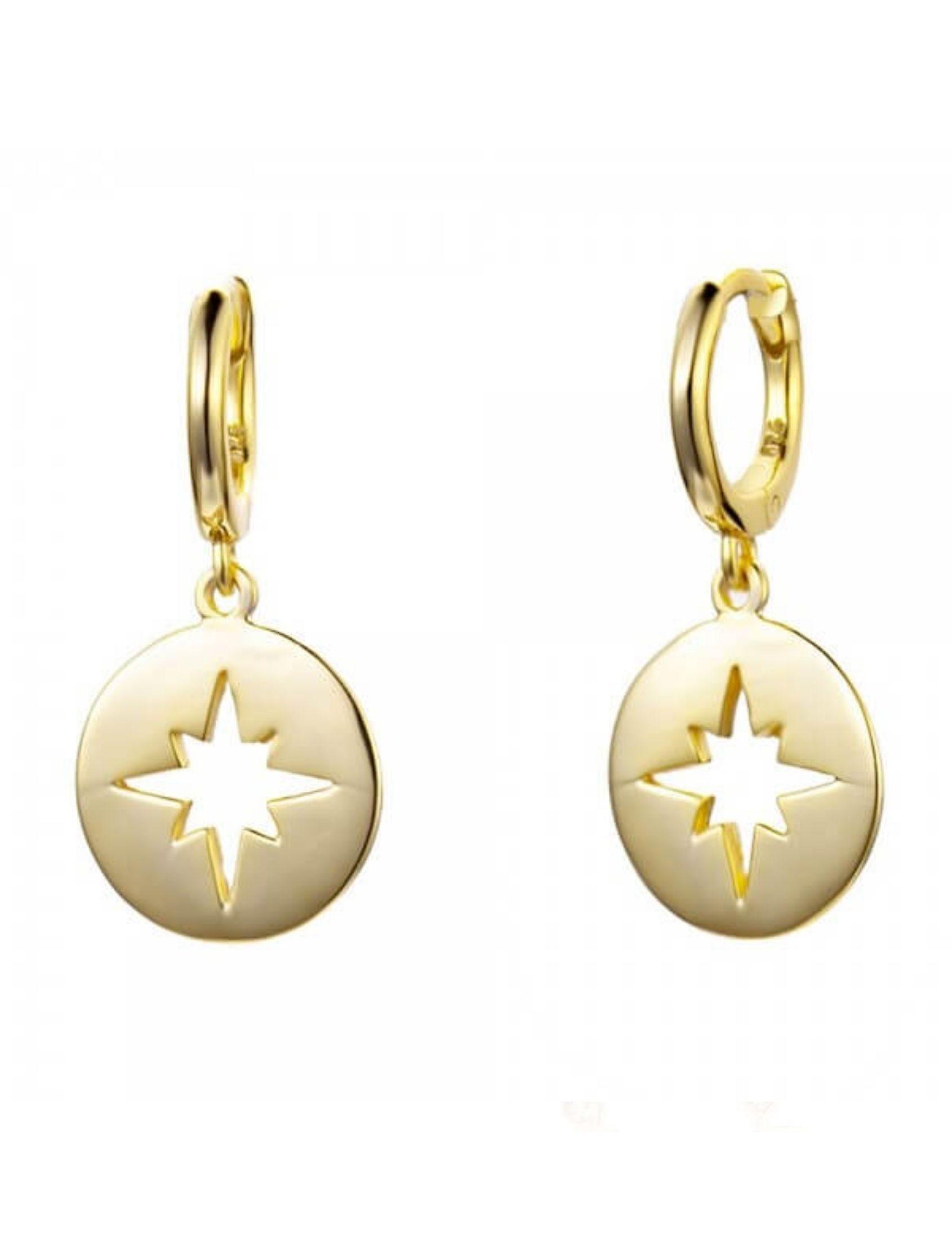 pendientes aro con colgante de medalla noa en plata chapada en oro