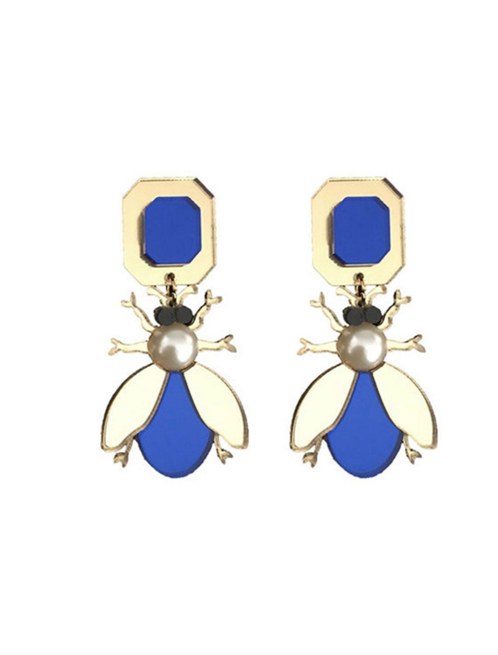 pendientes beetle de metacrilato con forma de escarabajo en azul y dorado
