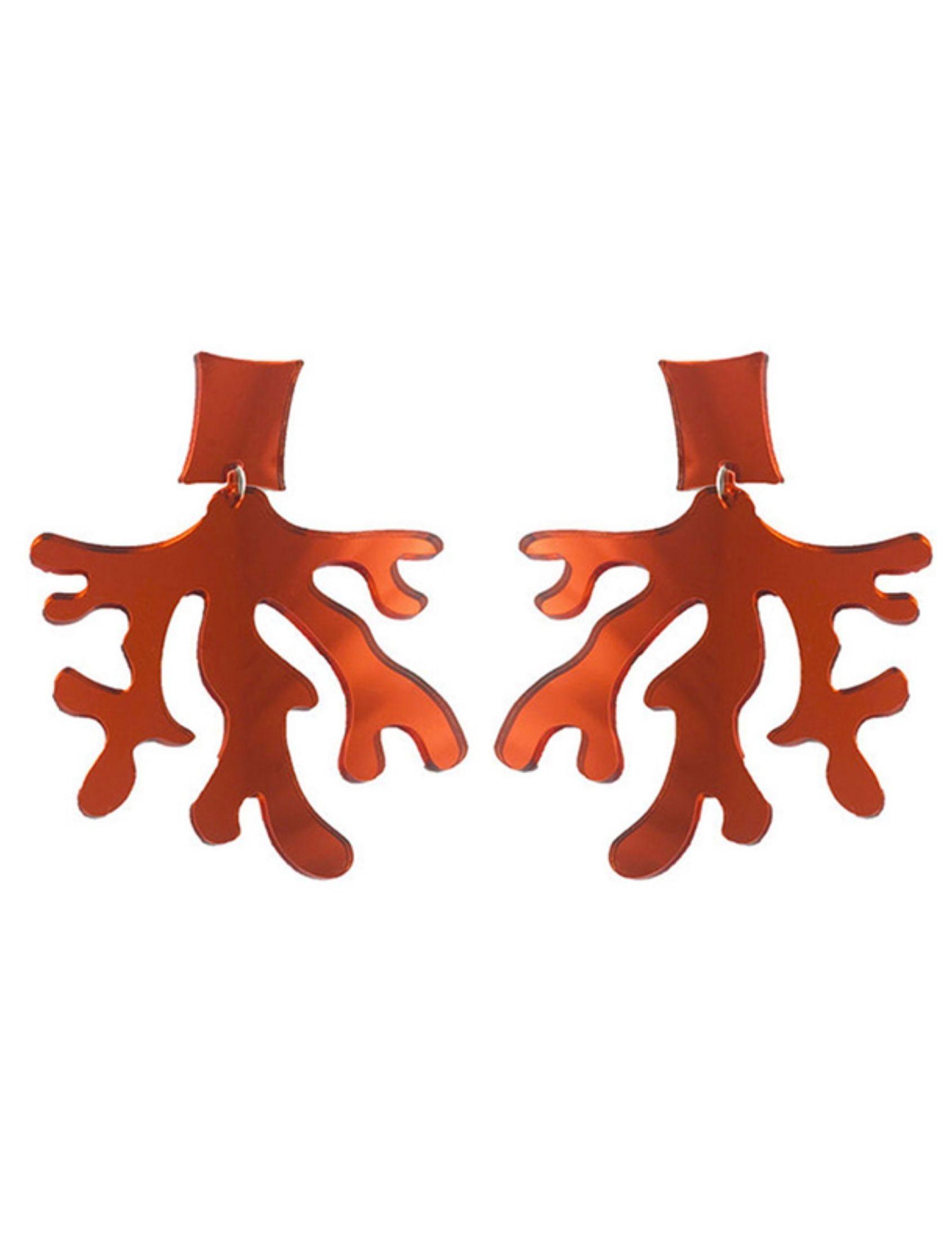pendientes de metacrilato con forma de coral en color granate