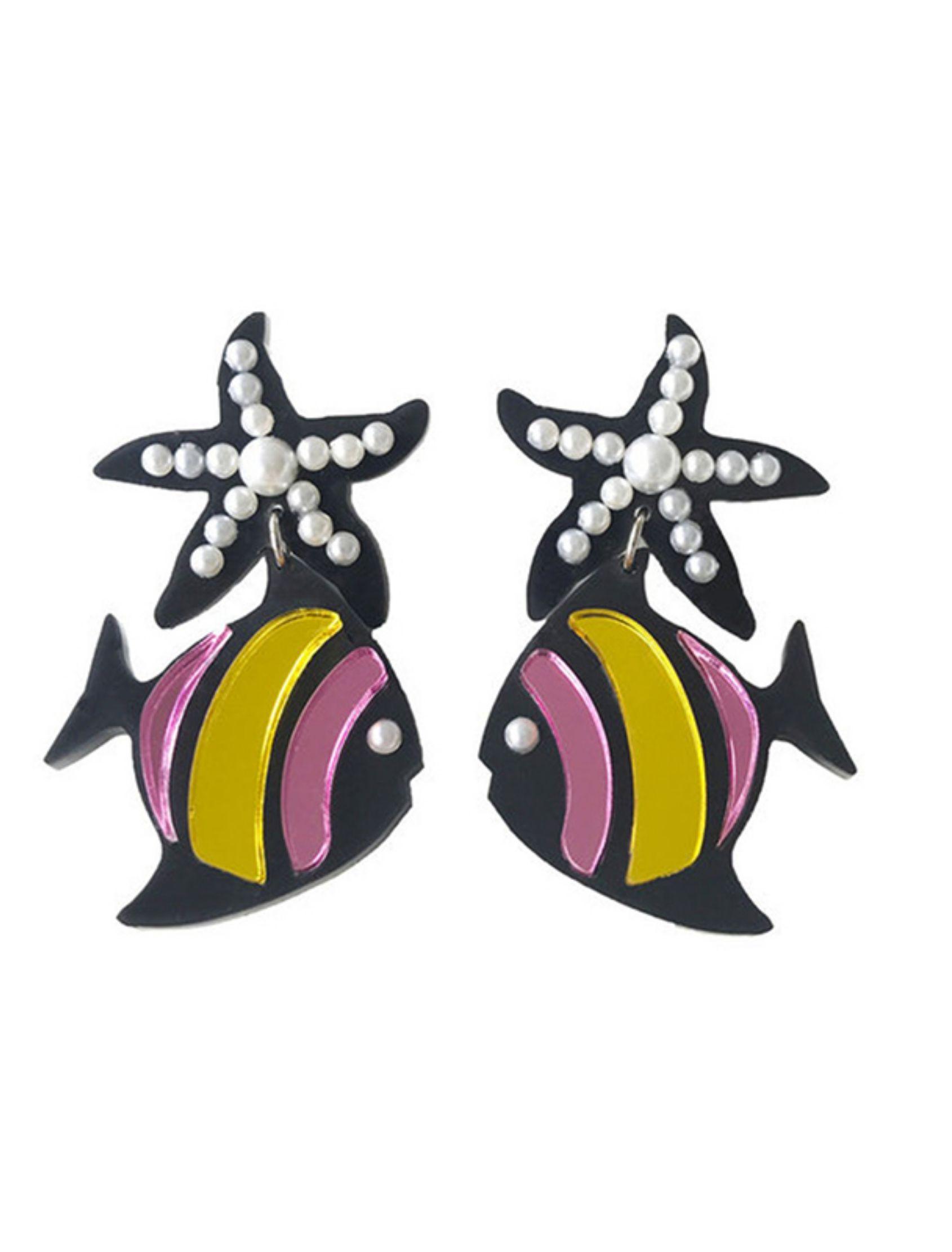 pendientes starfish de metacrilato multicolor con acero inoxidable y perlas