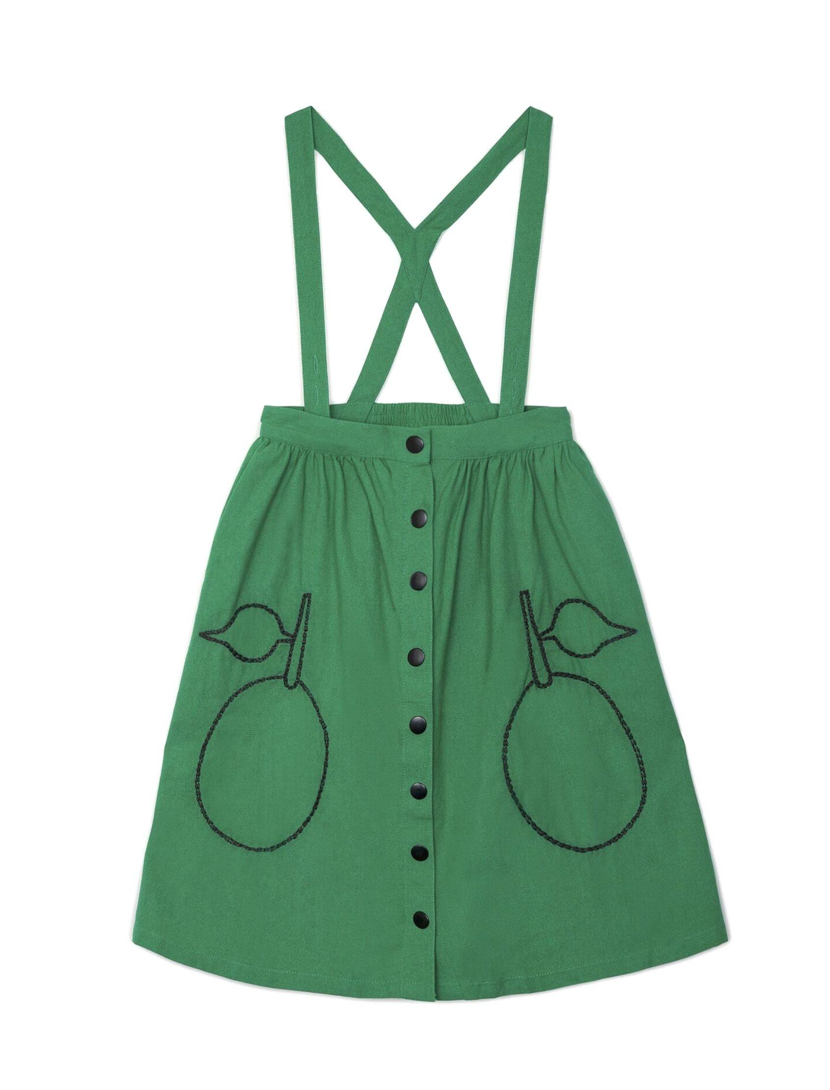 vestido pichi verde con mangos bordados de la marca nadadelazos para niña